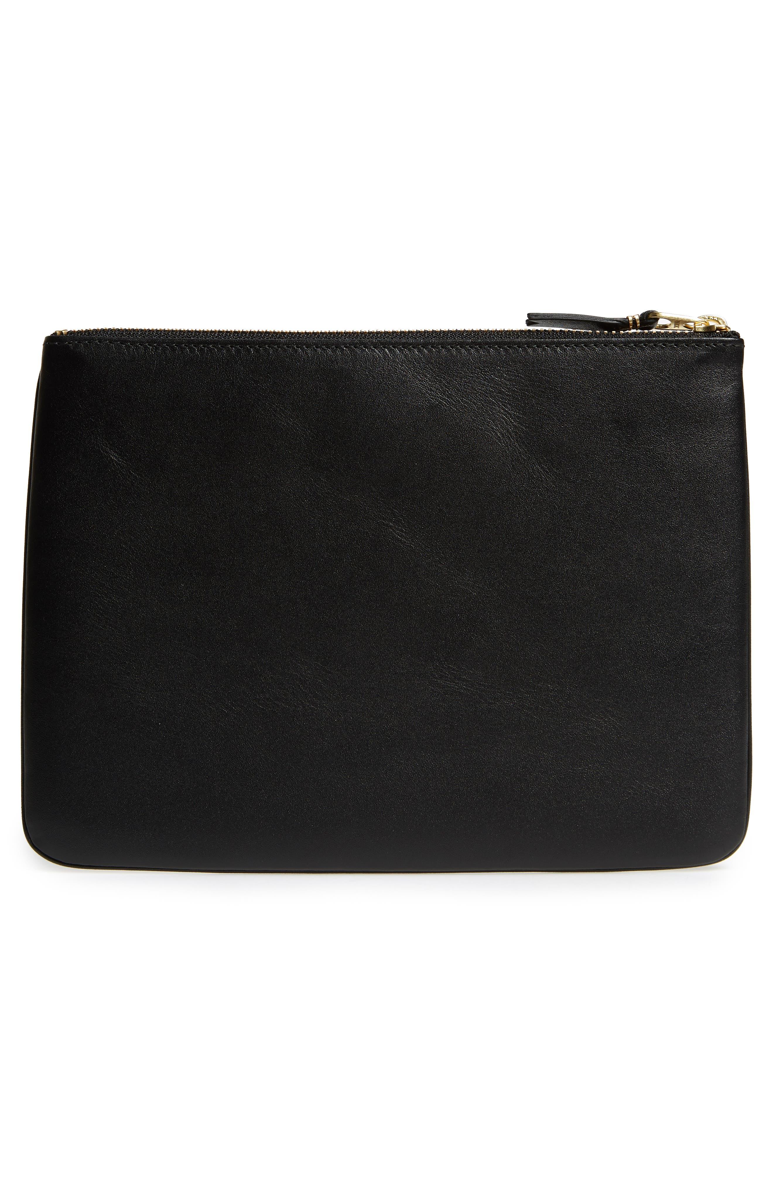 COMME DES GARÇONS, Classic Leather Line Pouch, Alternate thumbnail 3, color, 001