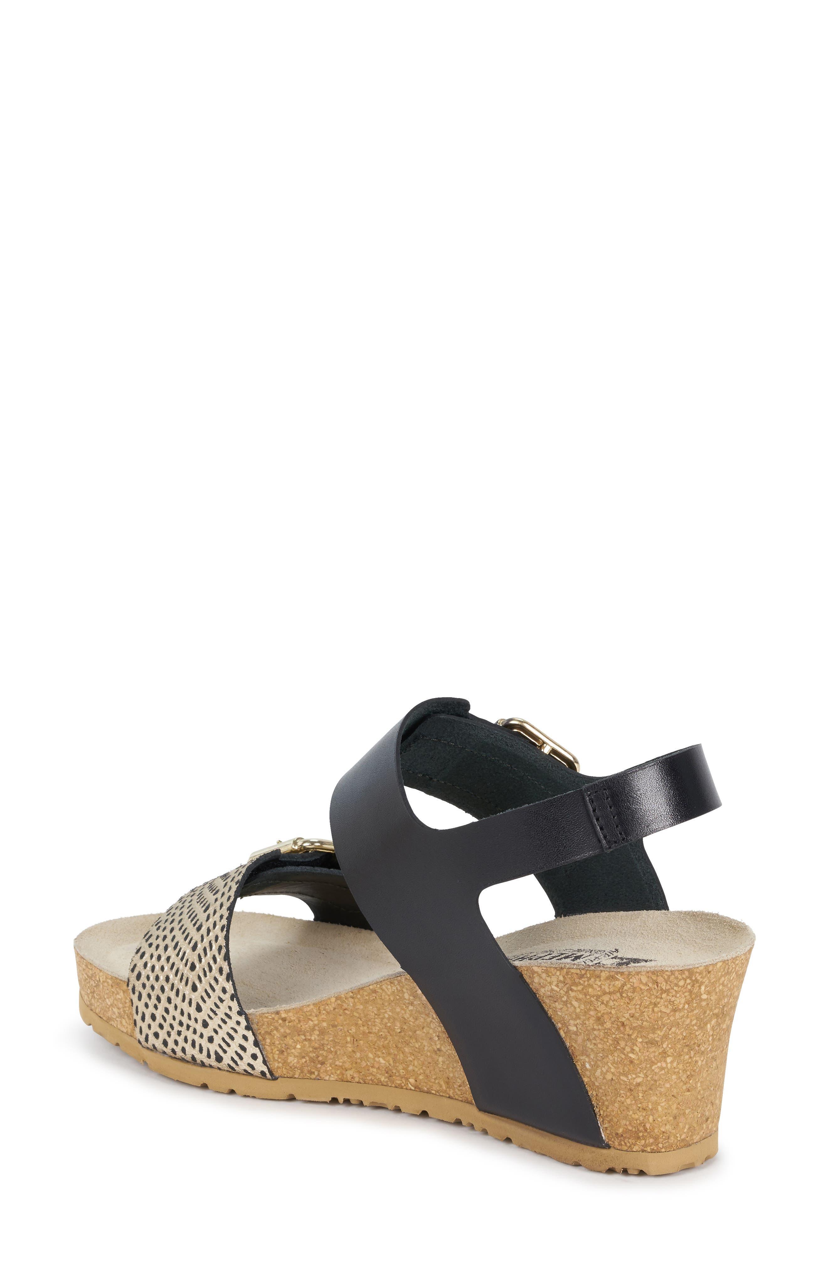 MEPHISTO, Lissandra Platform Wedge Sandal, Alternate thumbnail 2, color, BLACK/ GOLD LEATHER