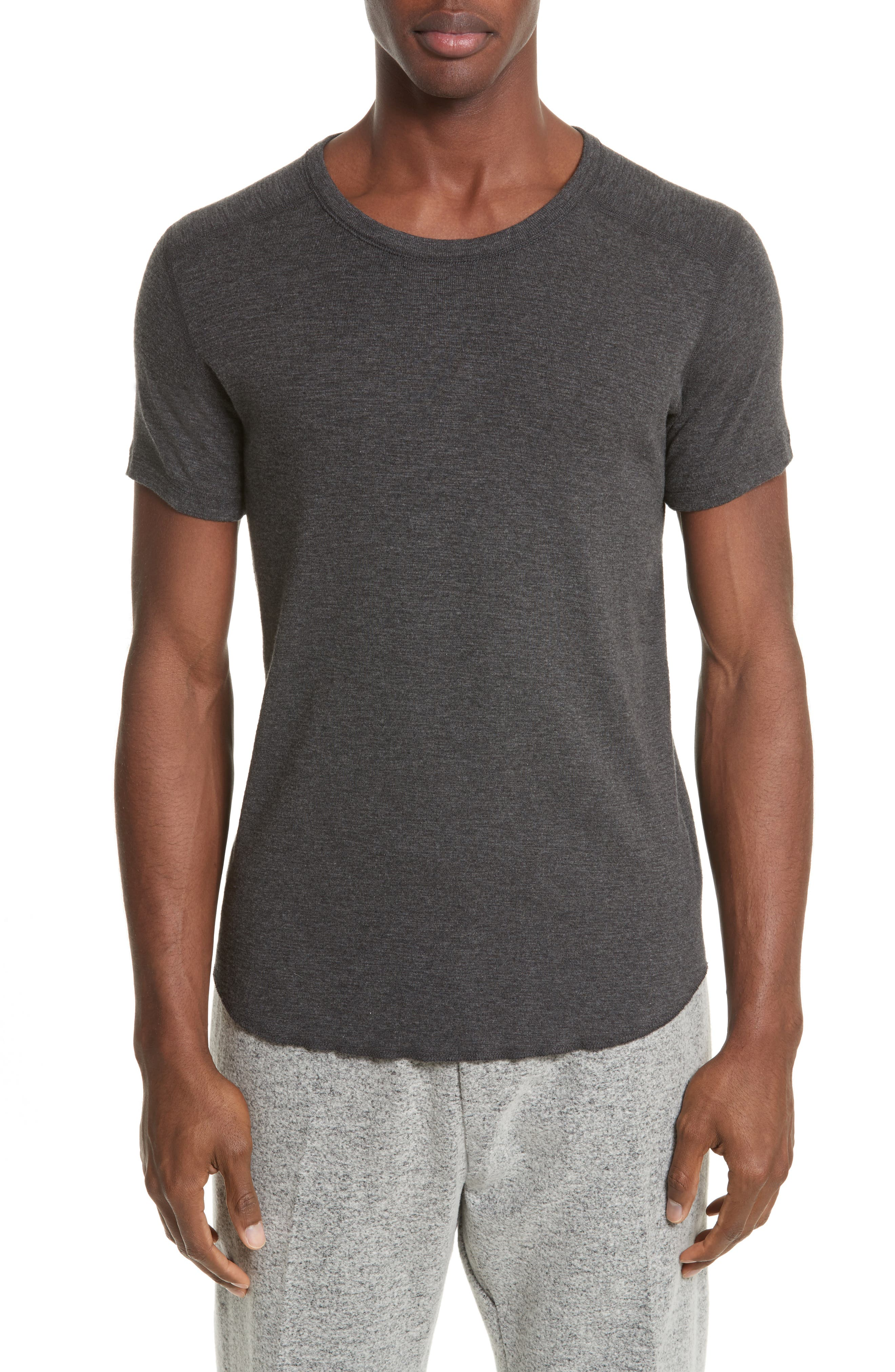 WINGS + HORNS Ribbed Slub Cotton T-Shirt, Main, color, HEATHER CHARCOAL