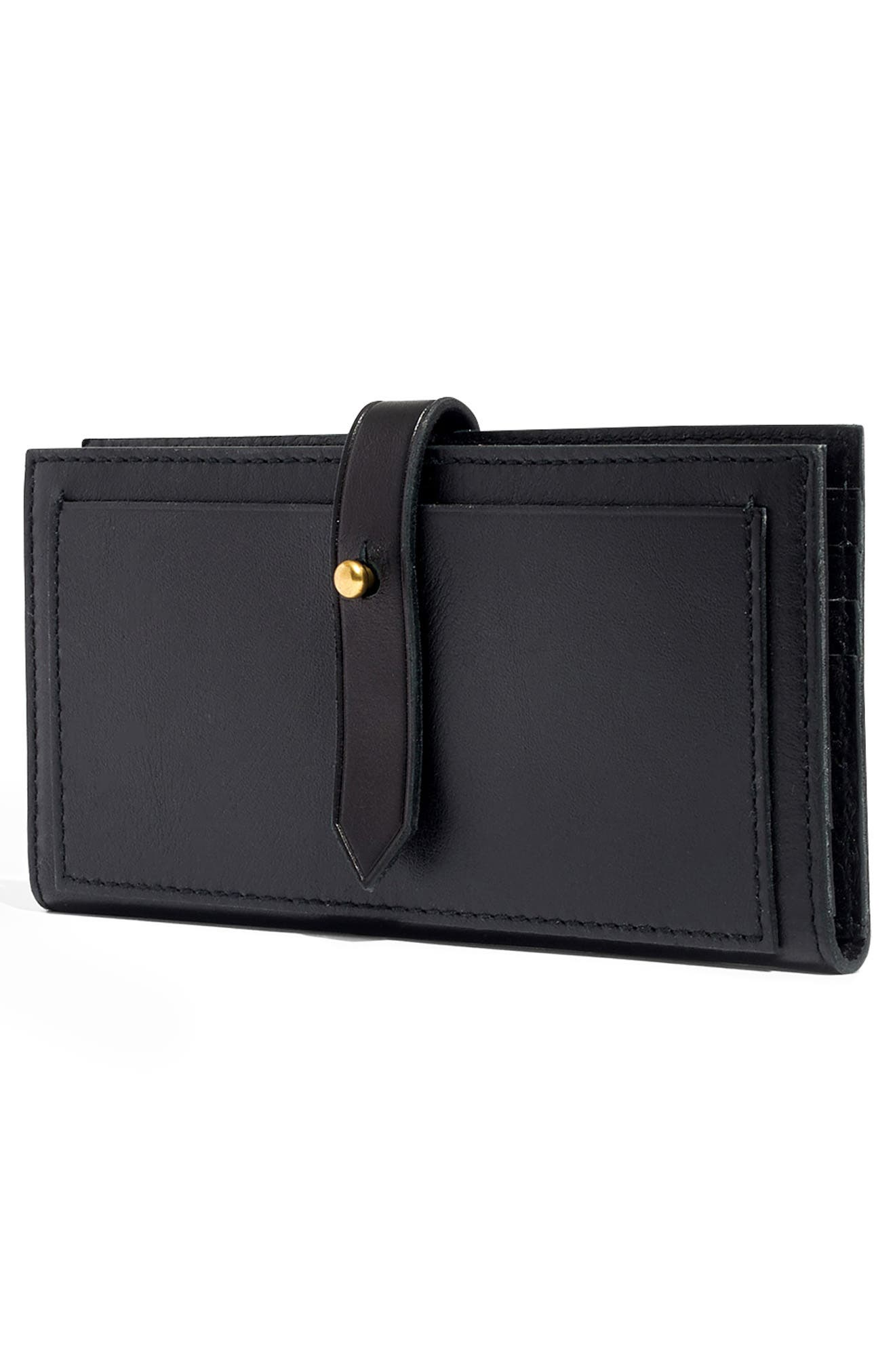 MADEWELL, New Post Leather Wallet, Alternate thumbnail 3, color, TRUE BLACK