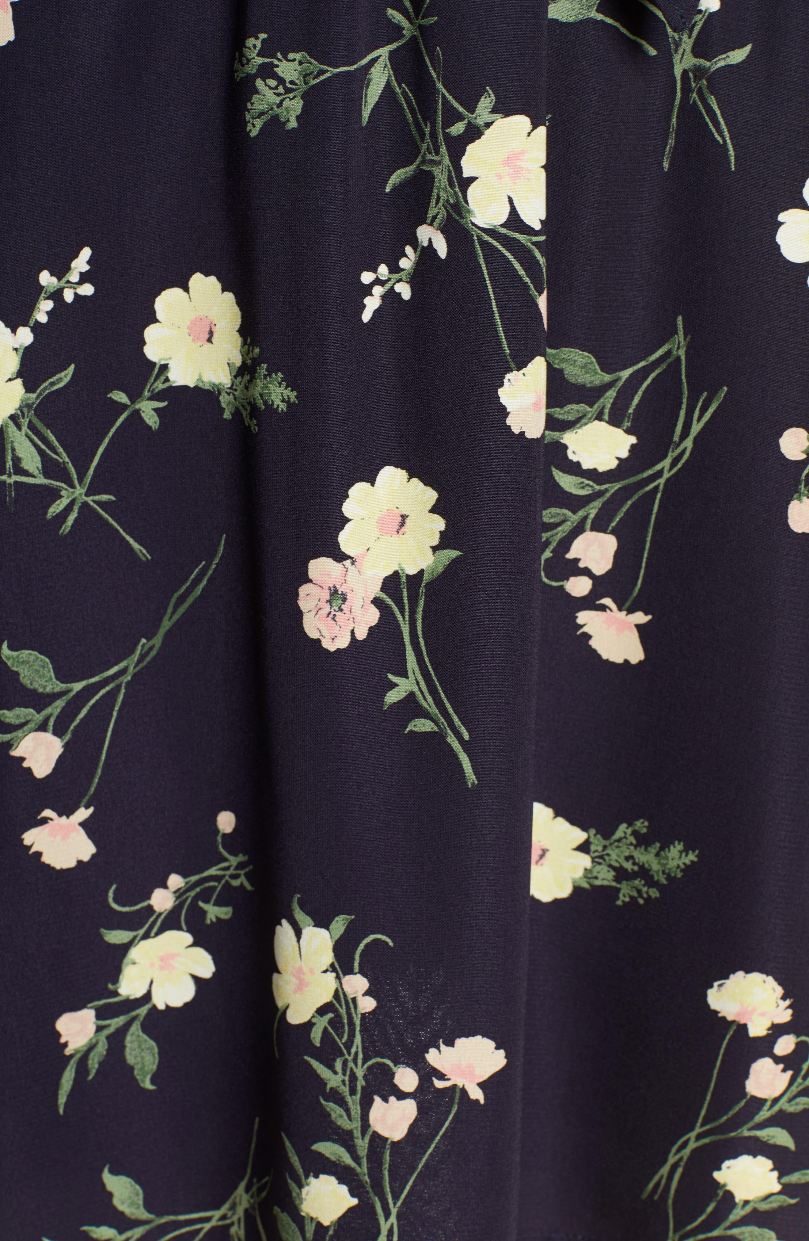 19 COOPER, Long Sleeve Floral Dress, Alternate thumbnail 6, color, NAVY FLORAL