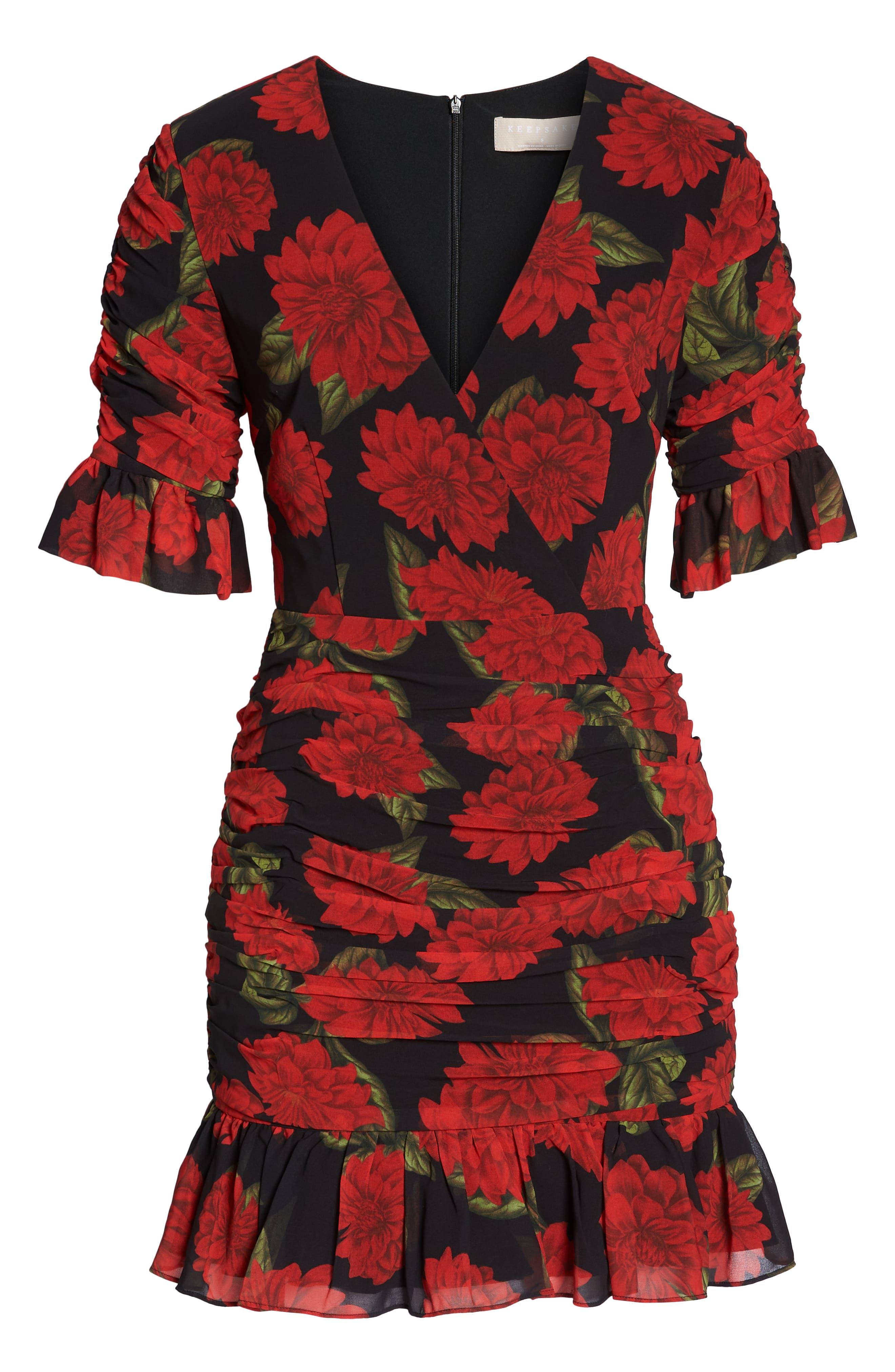 KEEPSAKE THE LABEL, Find You Floral Dress, Alternate thumbnail 7, color, 001