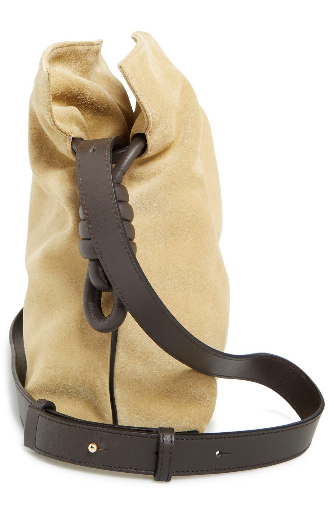 LOEWE, 'Flamenco Knot' Suede & Calfskin Leather Bag, Alternate thumbnail 3, color, 250