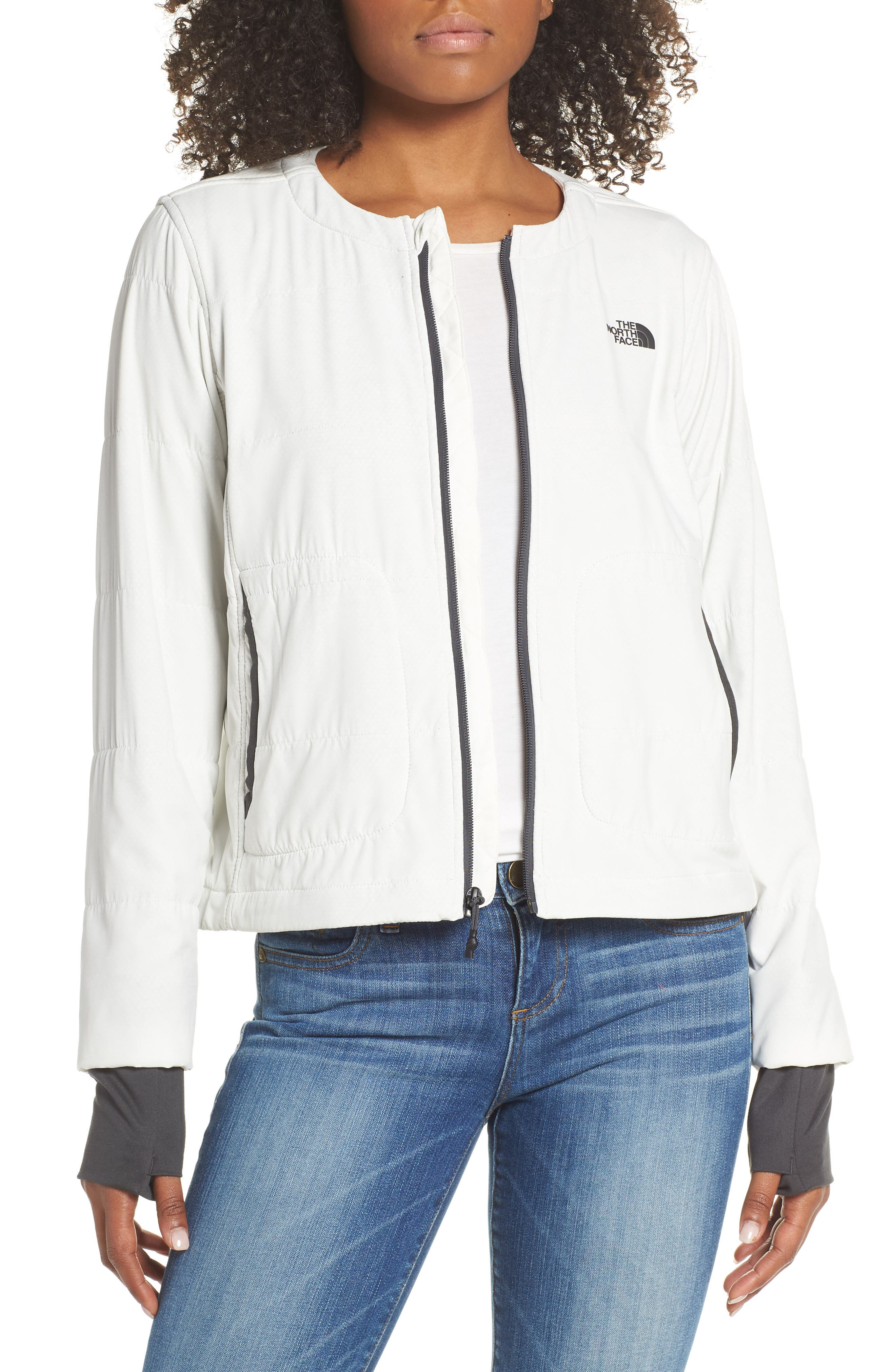 THE NORTH FACE, Mountain Insulated Collarless Zip Jacket, Main thumbnail 1, color, 050