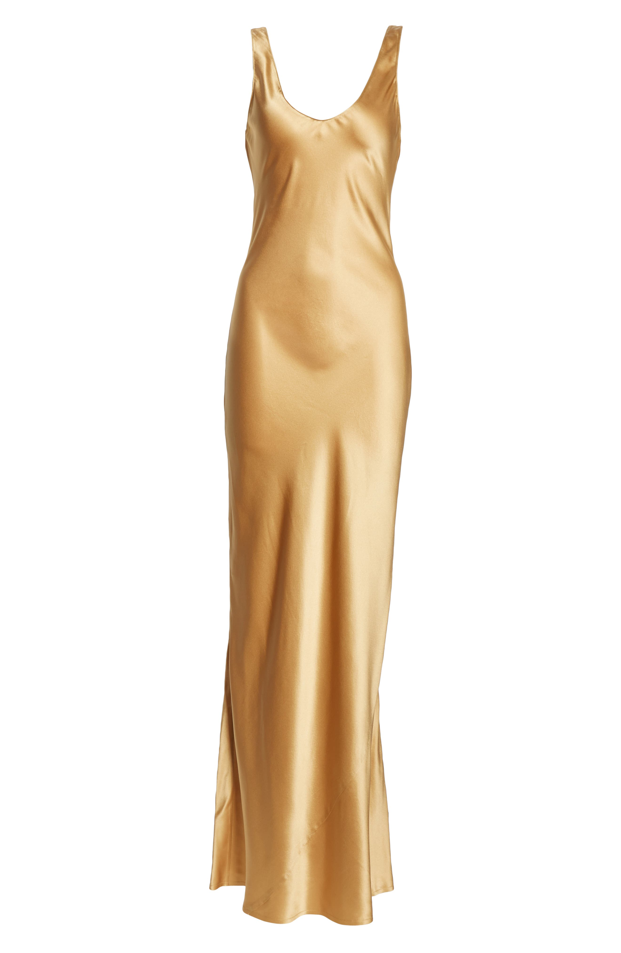 NILI LOTAN, Bazile Silk Evening Dress, Alternate thumbnail 6, color, GOLDEN