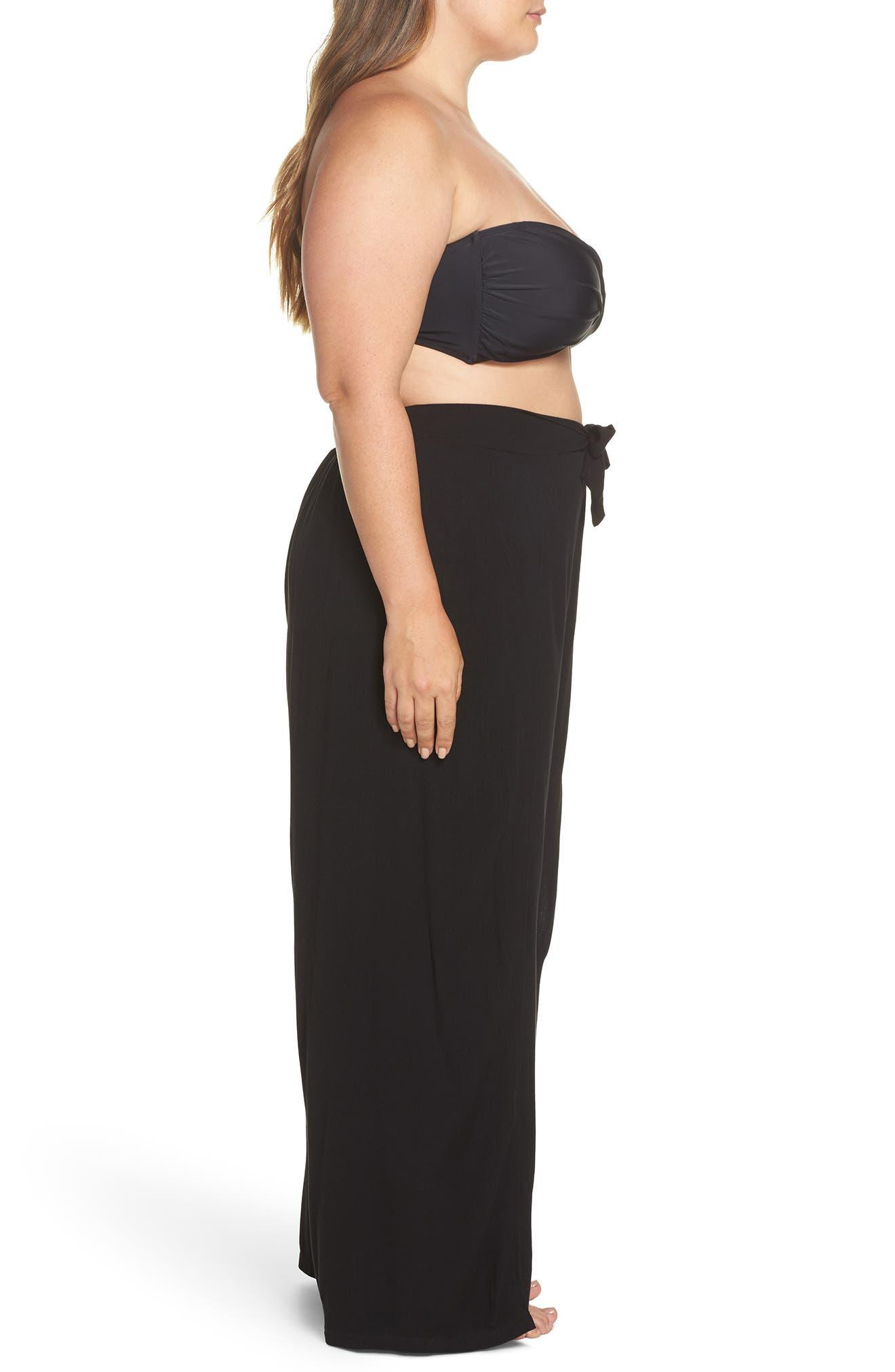BECCA ETC., Modern Muse Cover-Up Pants, Alternate thumbnail 4, color, BLACK