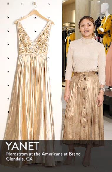 V-Neck Metallic Sequin Evening Dress, sales video thumbnail