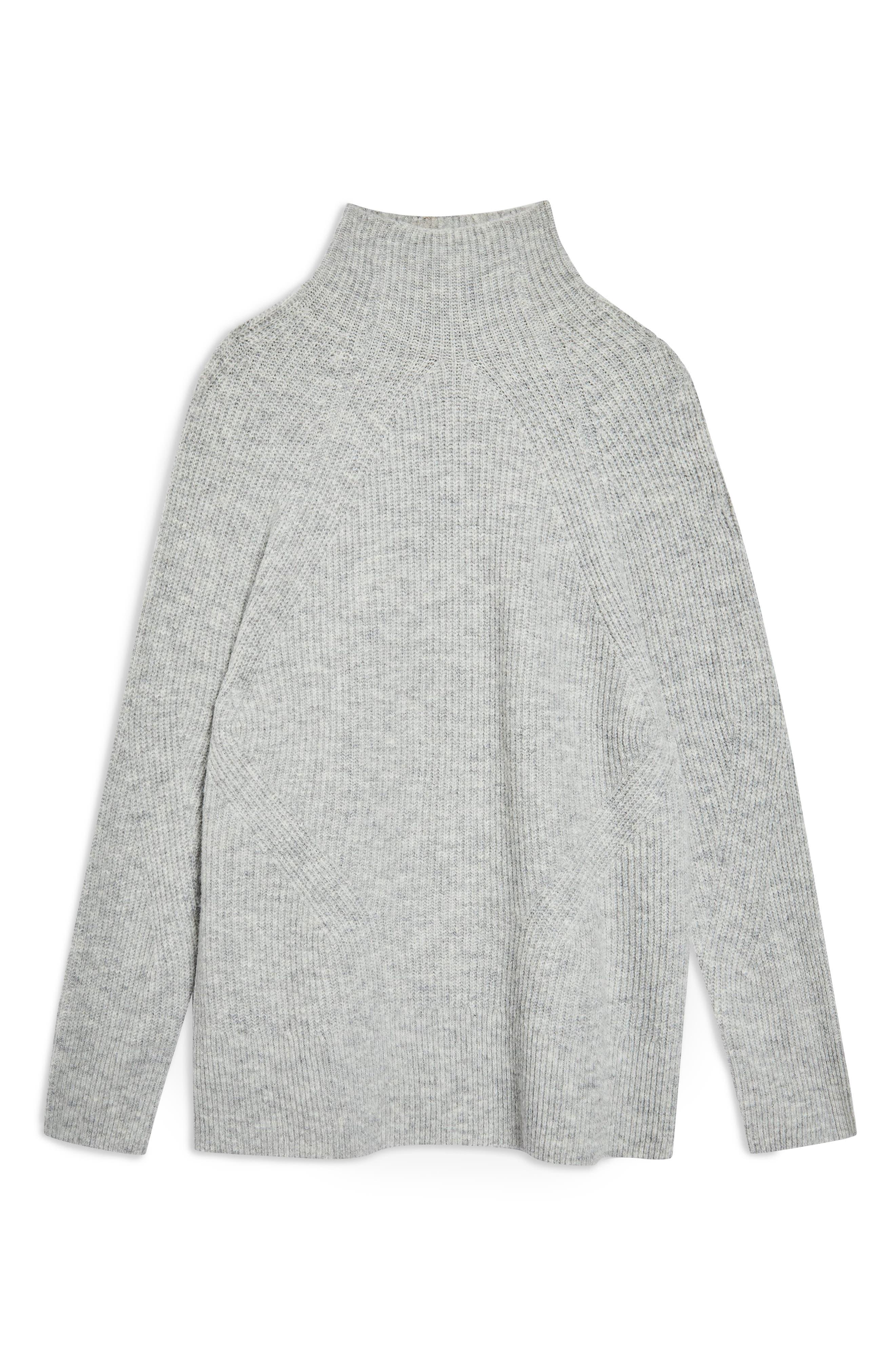 TOPSHOP, Raglan Turtleneck Neck Sweater, Alternate thumbnail 3, color, GREY MARL