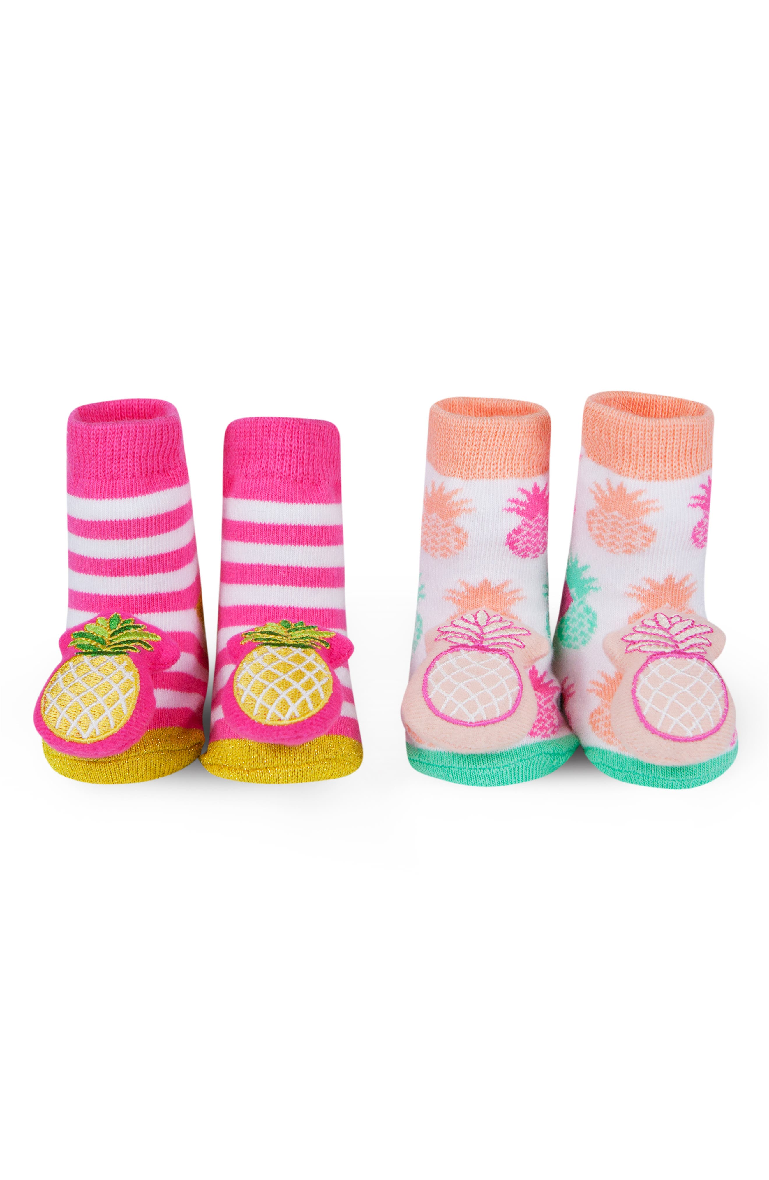 WADDLE, 2-Pack Pineapple Rattle Socks, Alternate thumbnail 2, color, PINK/ CORAL