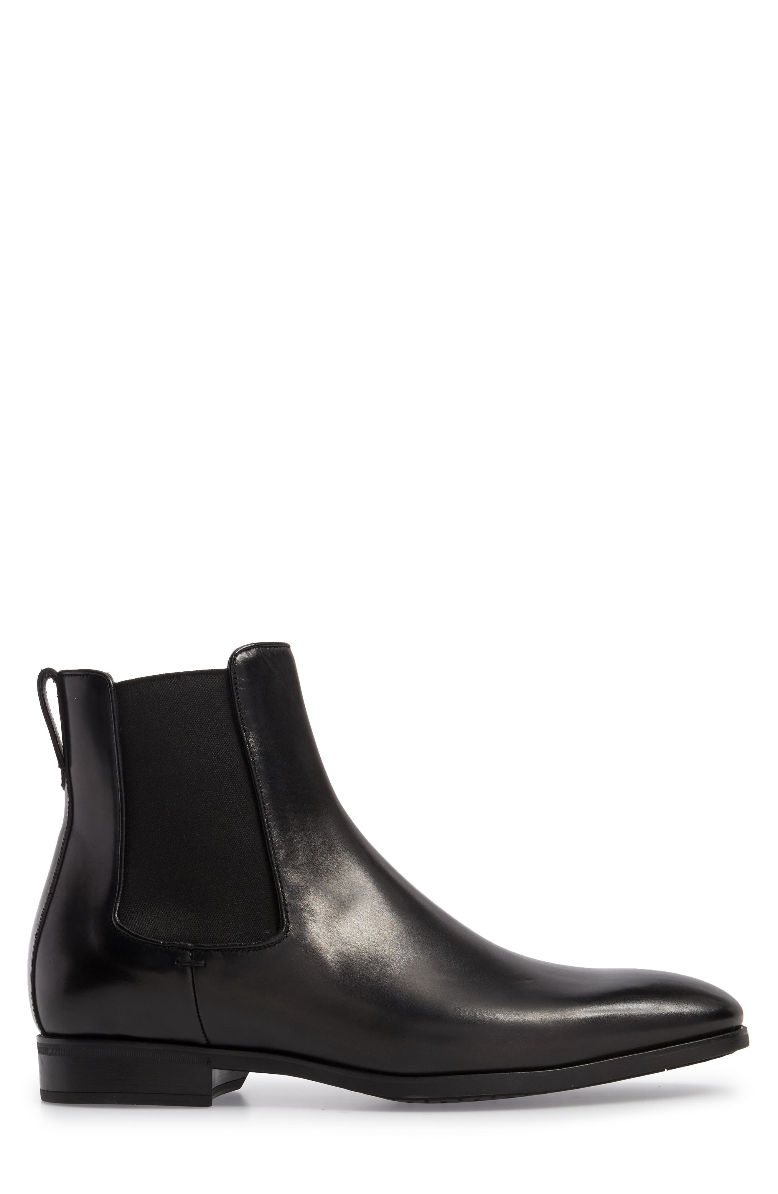 TO BOOT NEW YORK, Aldrich Mid Chelsea Boot, Alternate thumbnail 3, color, BLACK/ BLACK LEATHER