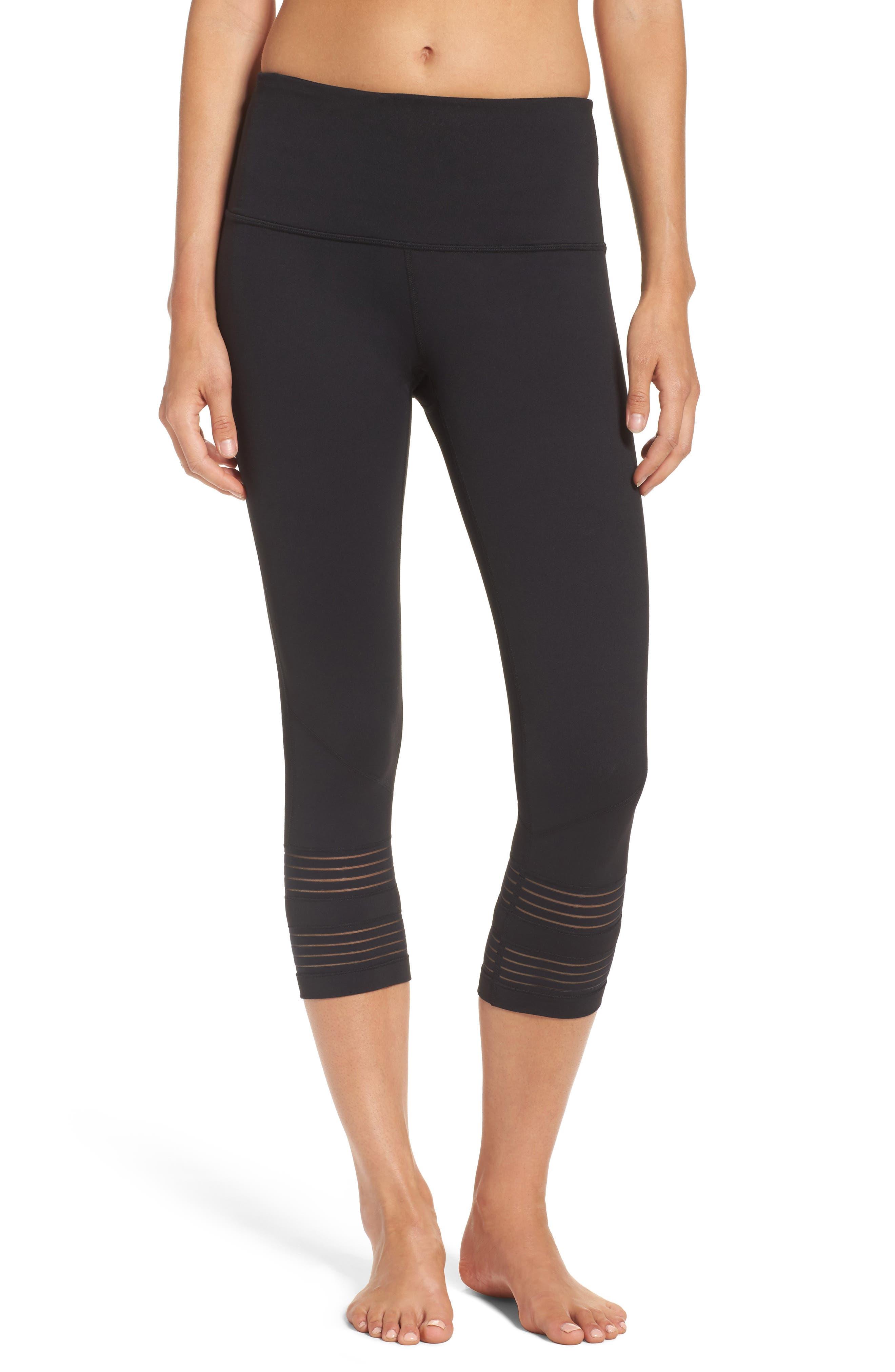 ZELLA Twin High Waist Crop Leggings, Main, color, BLACK
