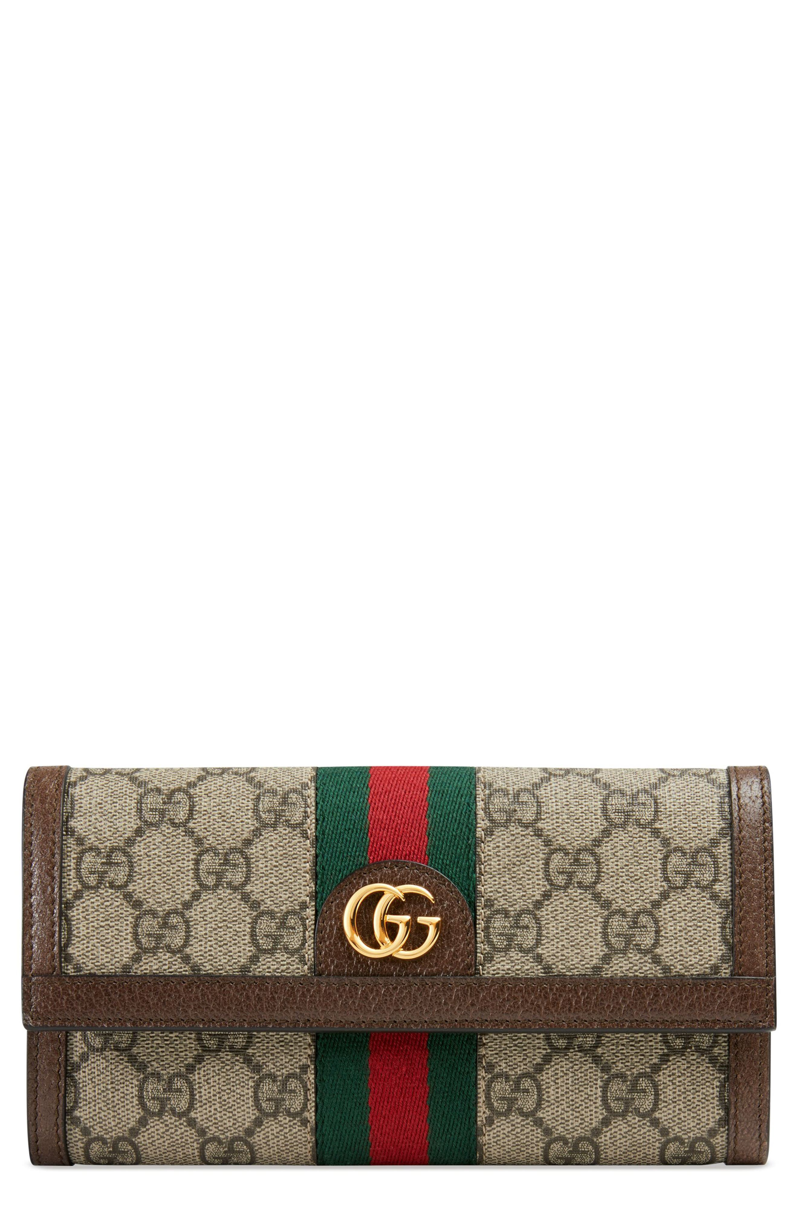 GUCCI, Ophidia GG Supreme Continental Wallet, Main thumbnail 1, color, BEIGE EBONY/ ACERO/ VERT RED