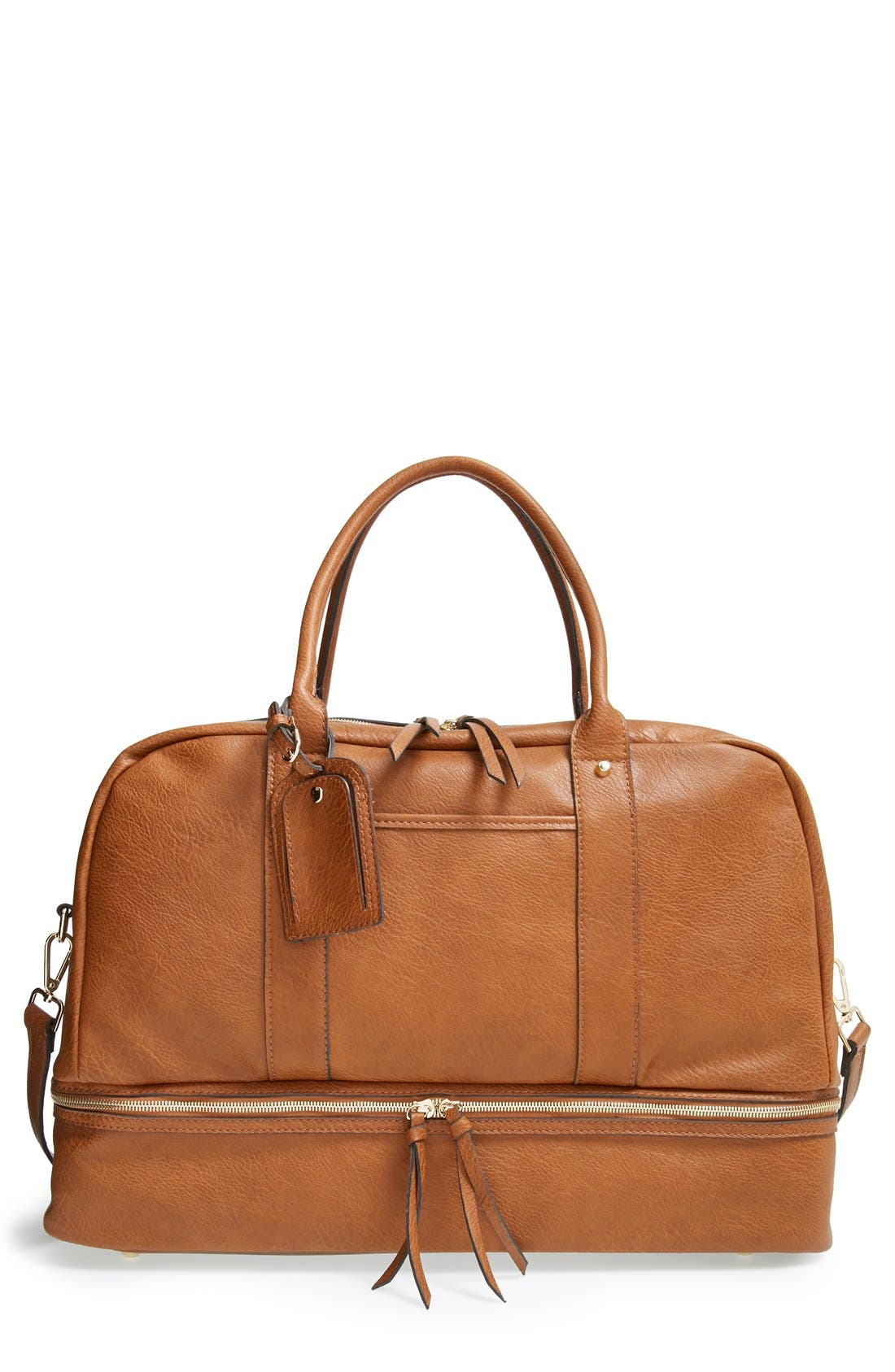 SOLE SOCIETY, Mason Weekend Bag, Main thumbnail 1, color, COGNAC