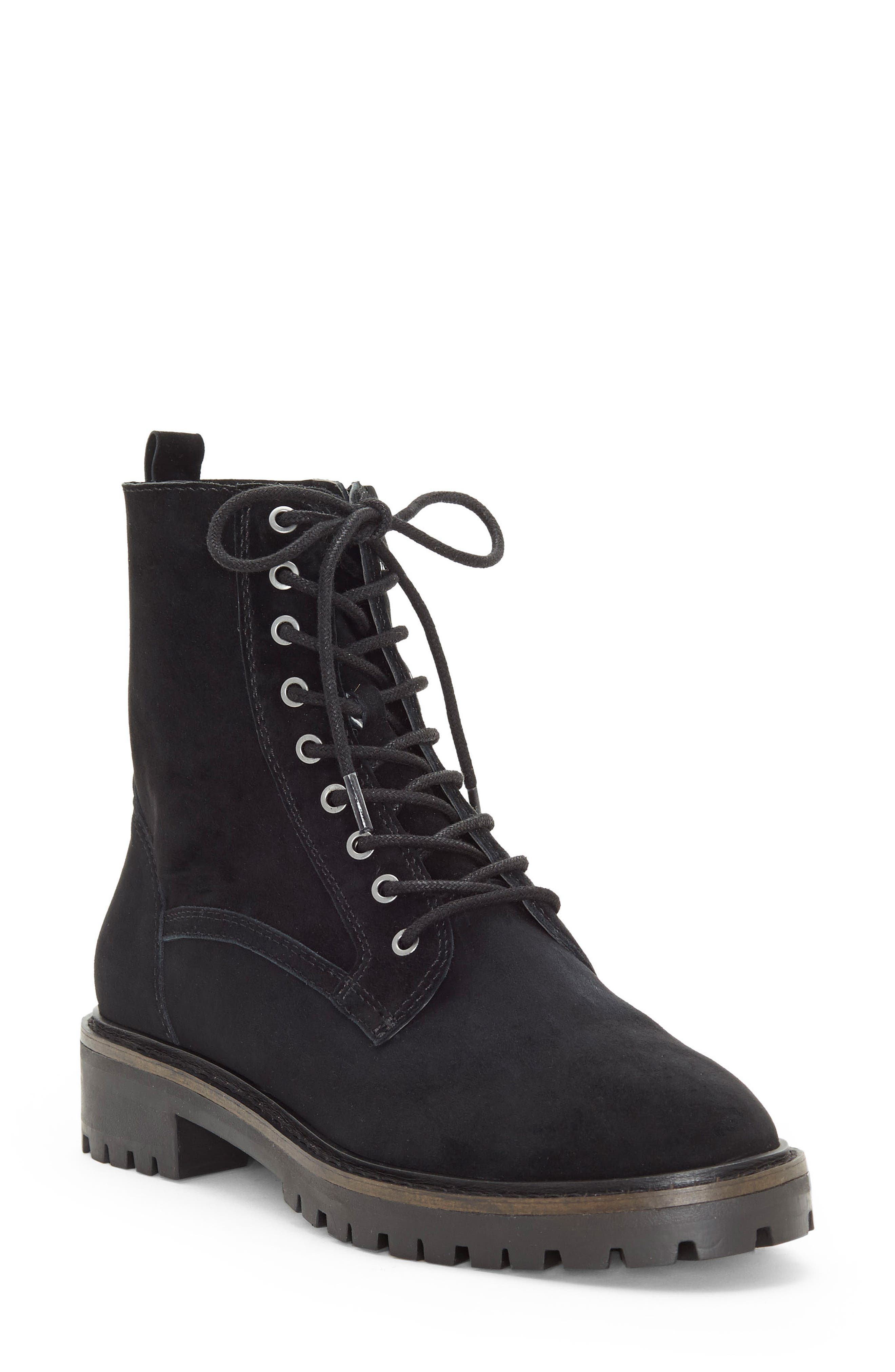 LUCKY BRAND, Idara Lace-Up Bootie, Main thumbnail 1, color, 001