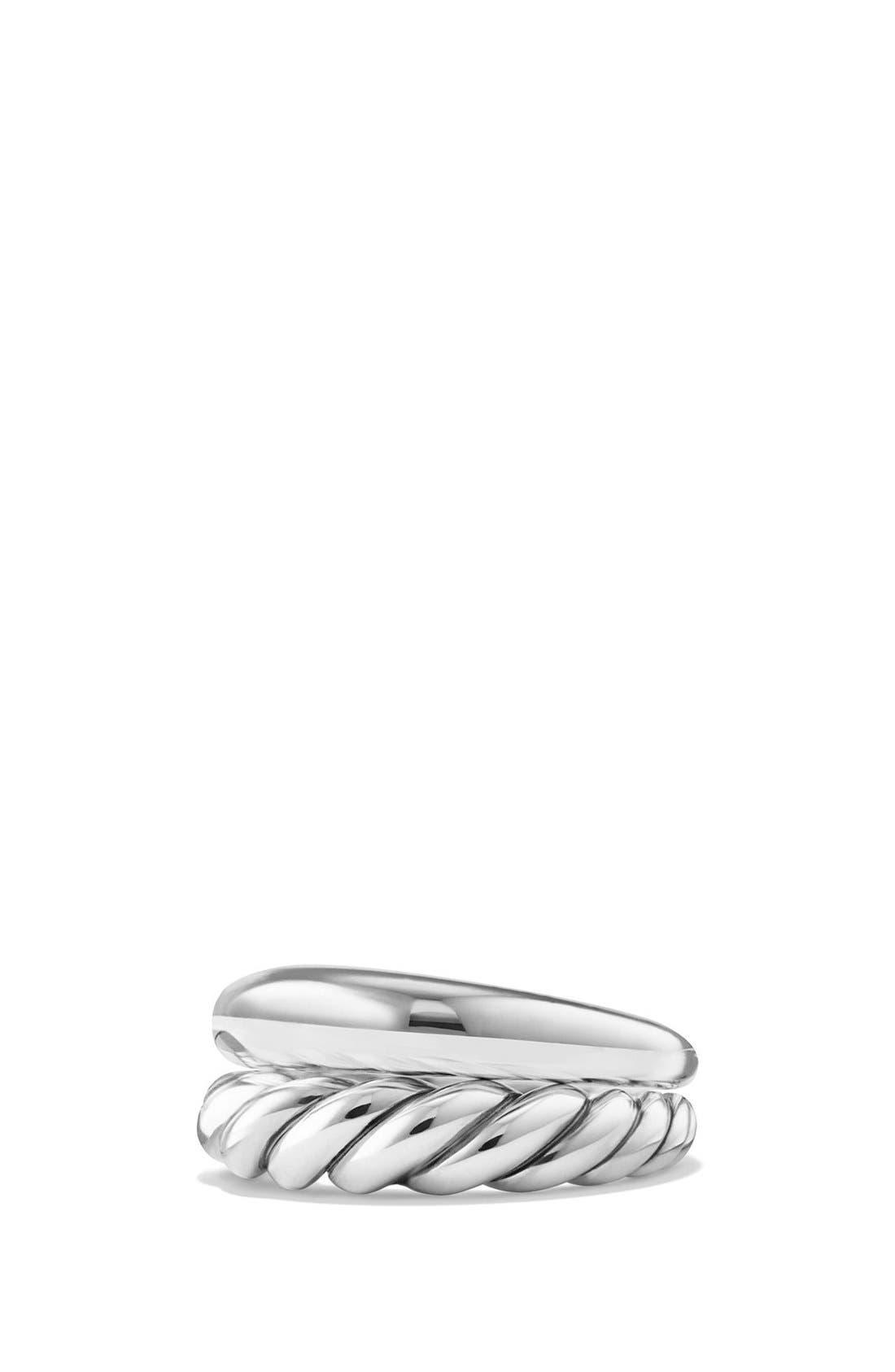 DAVID YURMAN, 'Pure Form' Sterling Silver Stacking Rings, Main thumbnail 1, color, SILVER