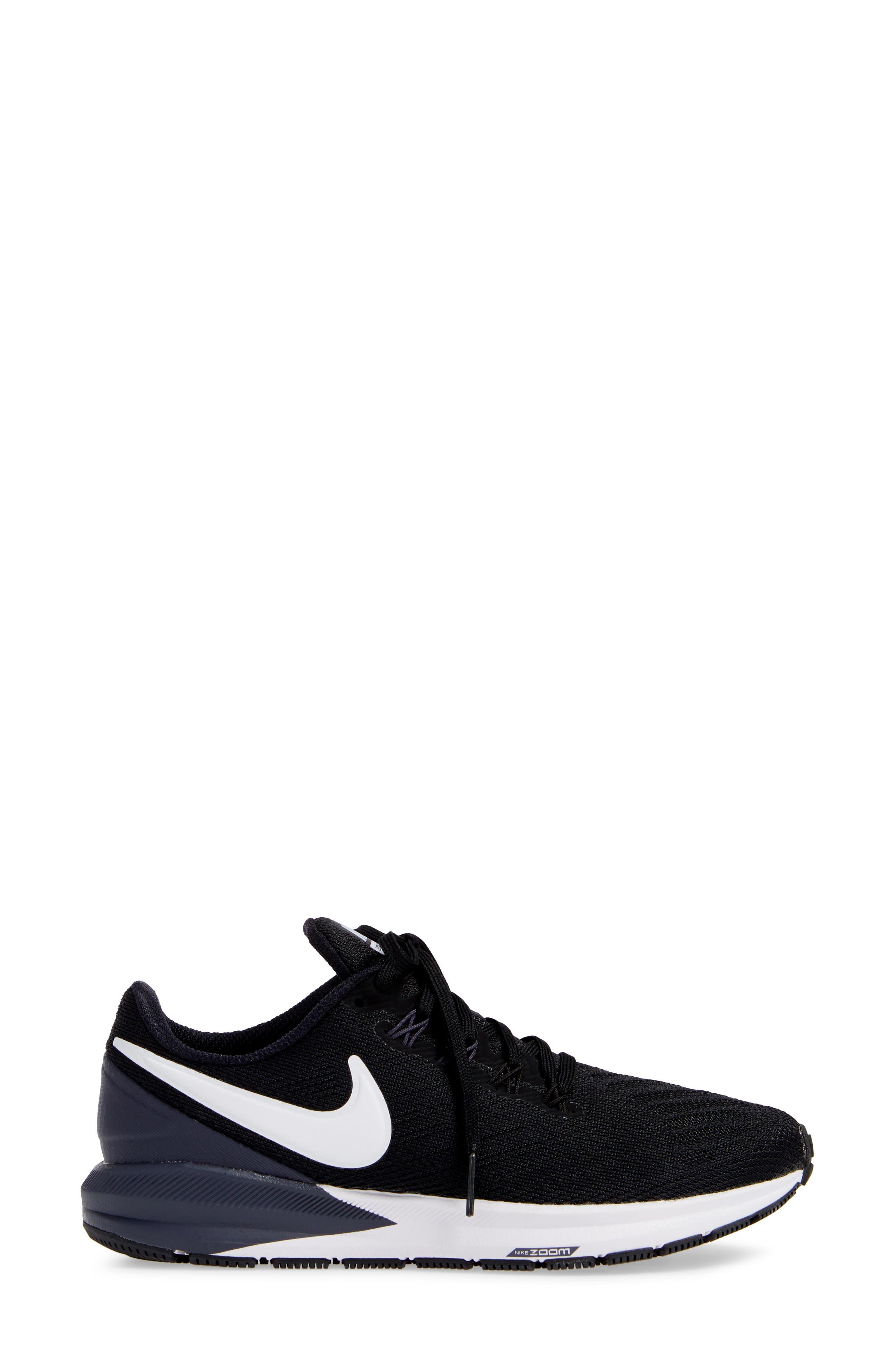 NIKE, Air Zoom Structure 22 Sneaker, Alternate thumbnail 3, color, BLACK/ WHITE-GRIDIRON