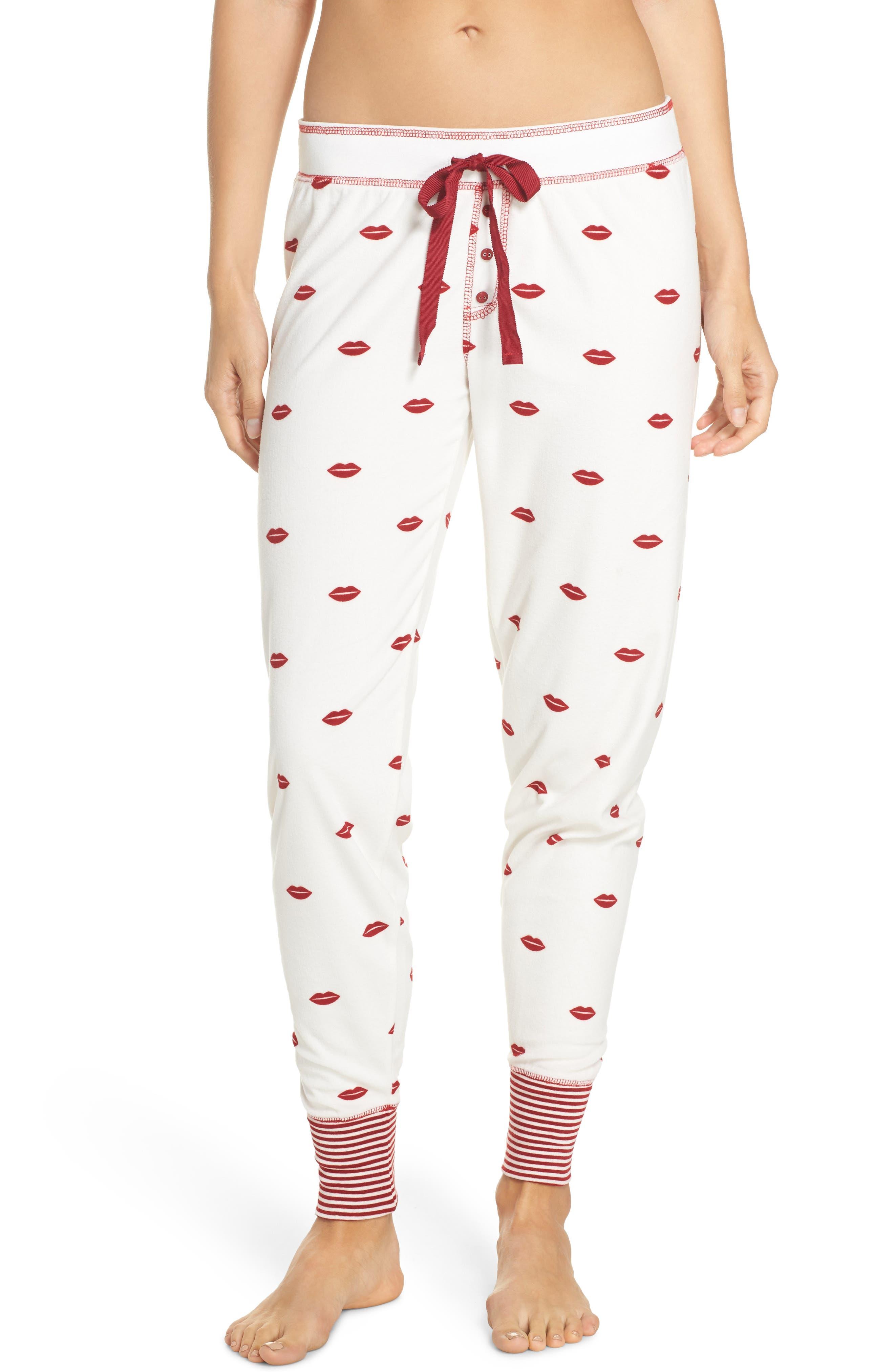 PJ SALVAGE Lip Print Pajama Pants, Main, color, 900