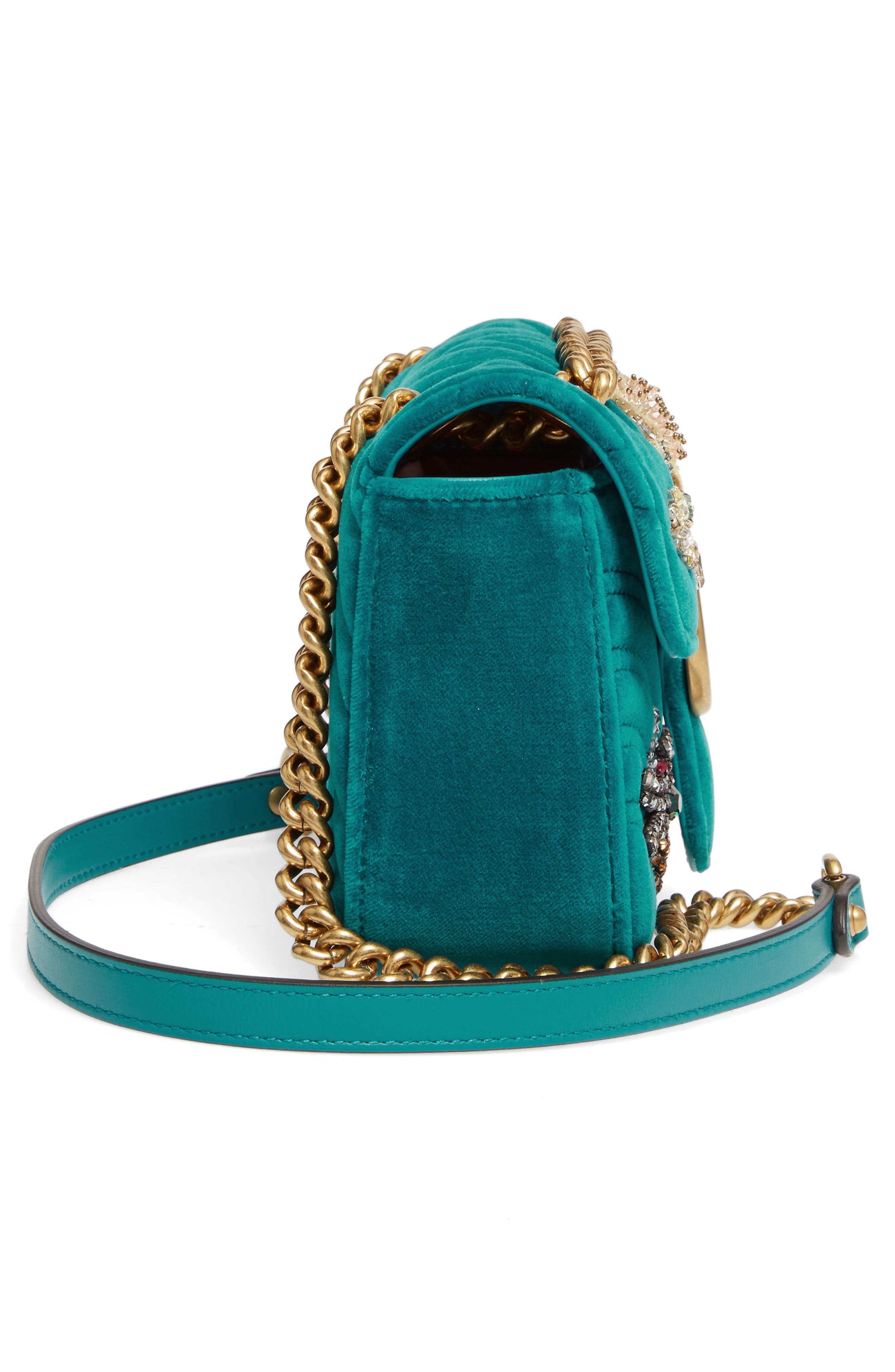 GUCCI, Mini GG Marmont Matelassé Velvet Shoulder Bag, Alternate thumbnail 5, color, PIVONE