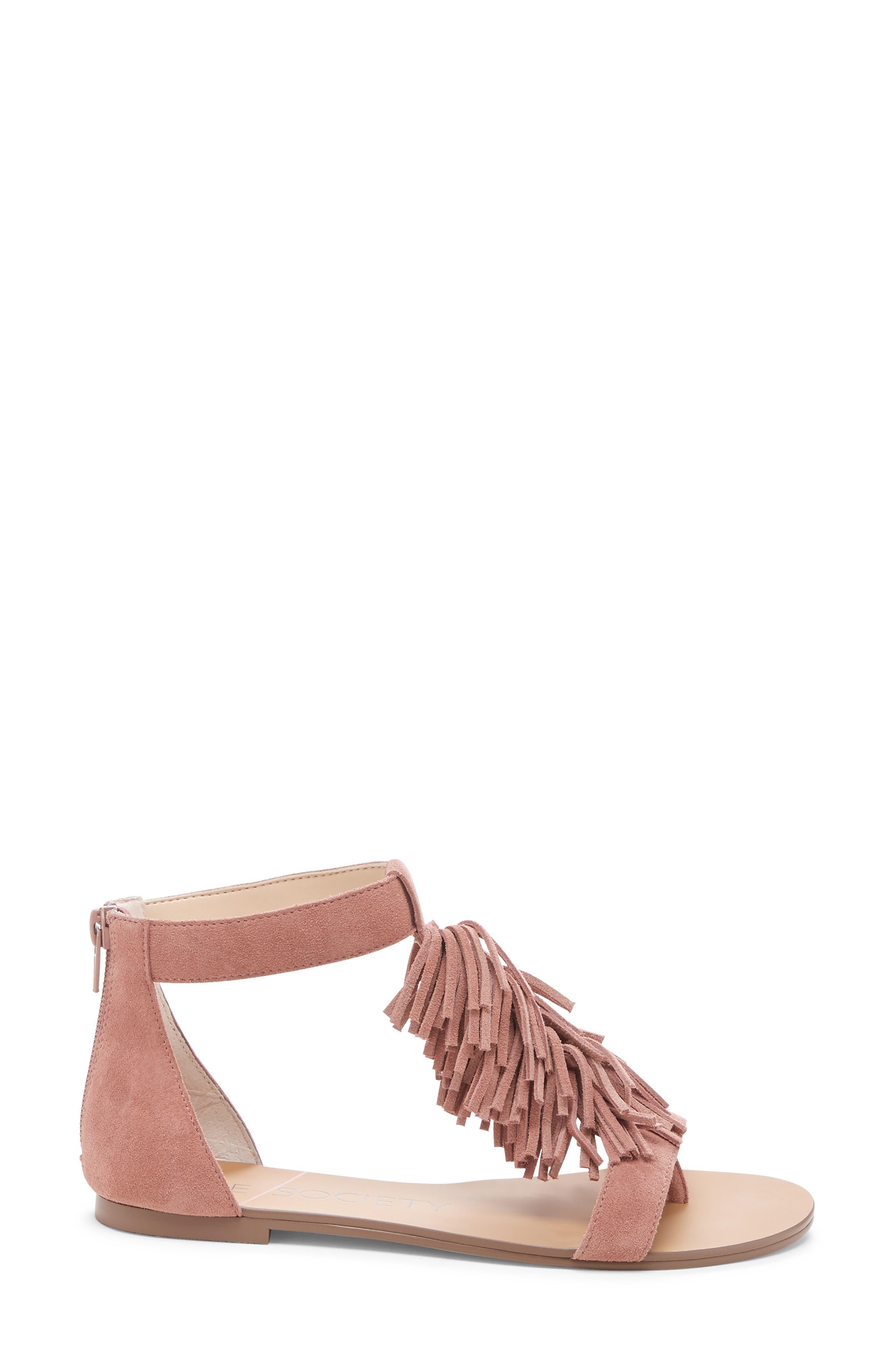 SOLE SOCIETY, 'Koa' Fringe T-Strap Flat Sandal, Alternate thumbnail 3, color, MOD MAUVE SUEDE