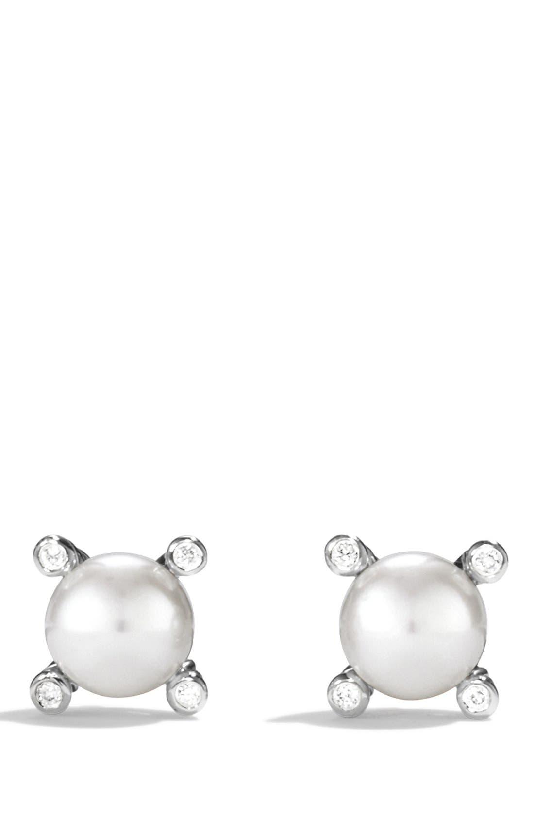 DAVID YURMAN, Small Pearl Earrings with Diamonds, Main thumbnail 1, color, PEARL