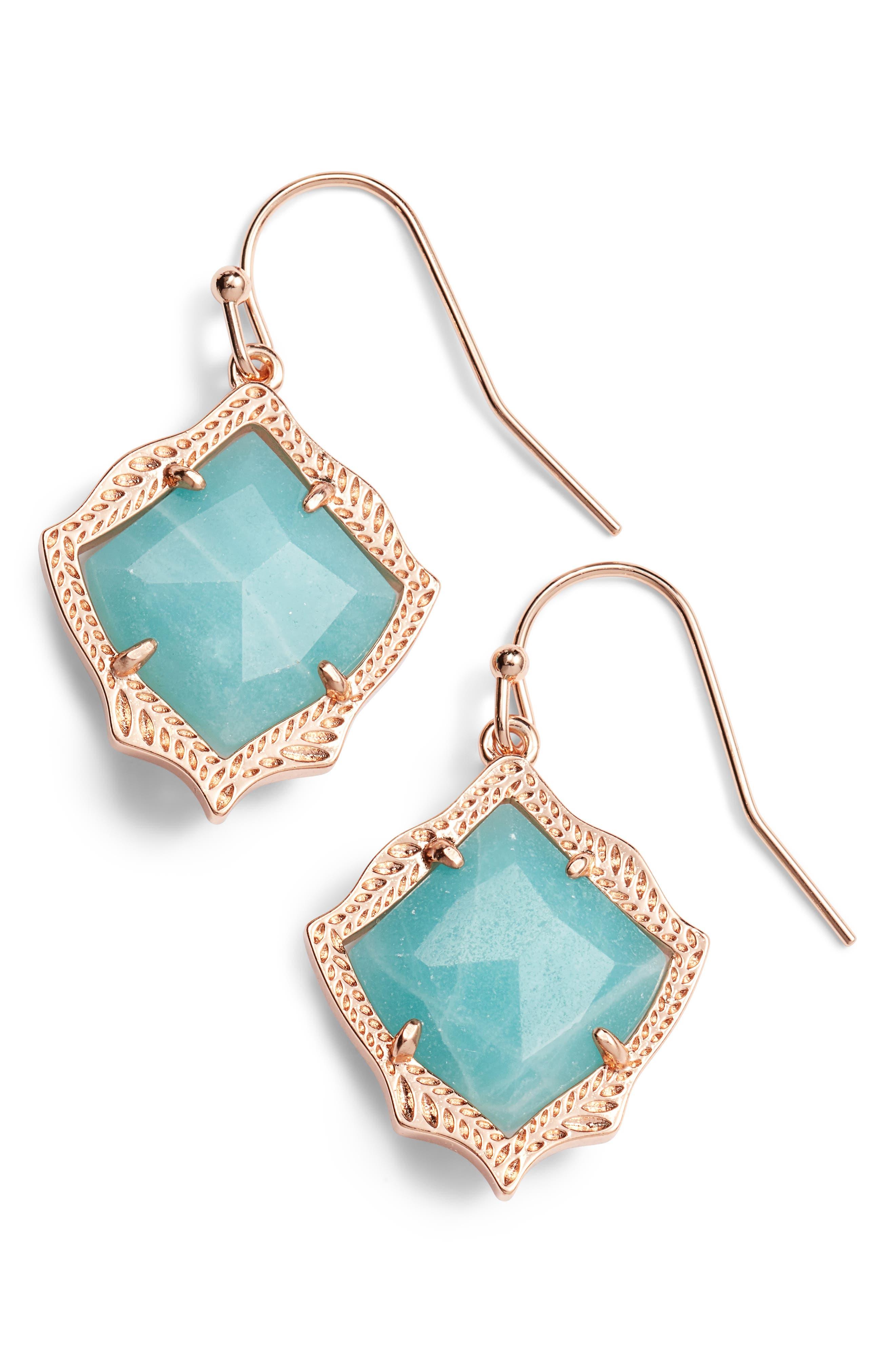 KENDRA SCOTT, Kyrie Drop Earrings, Main thumbnail 1, color, AMAZONITE/ ROSE GOLD