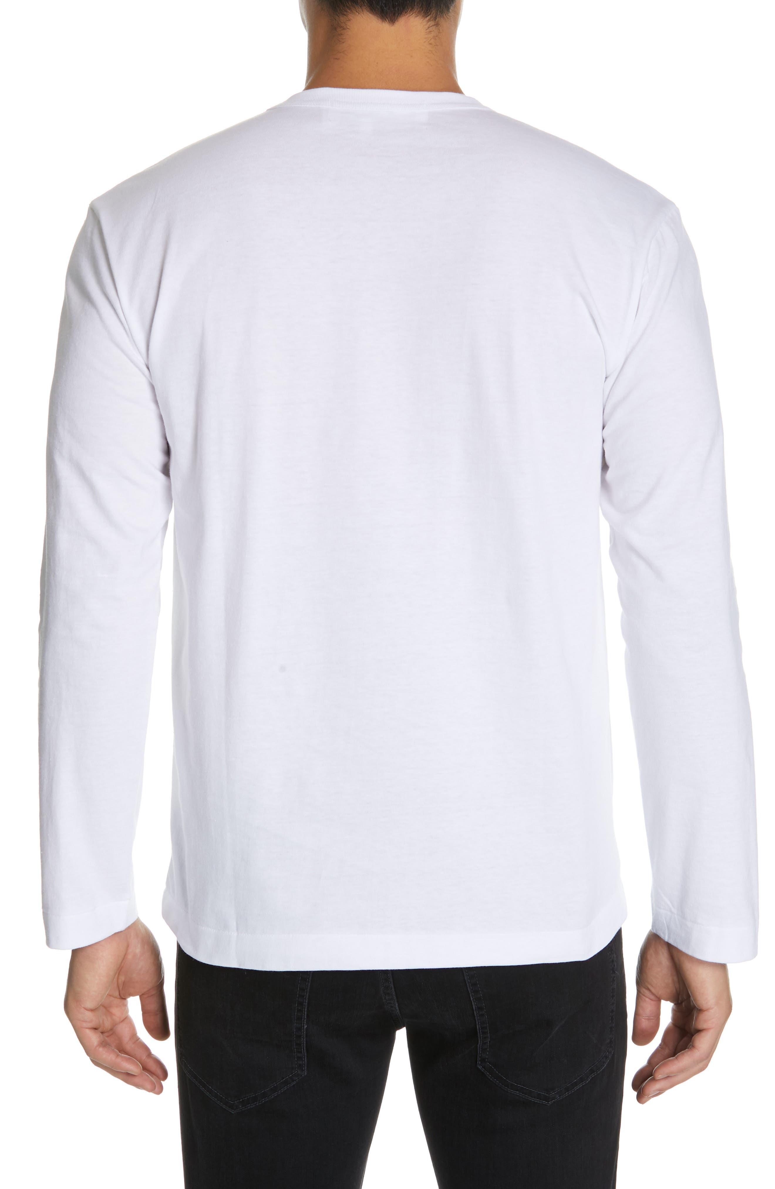 COMME DES GARÇONS PLAY, Black Heart T-Shirt, Alternate thumbnail 2, color, WHITE