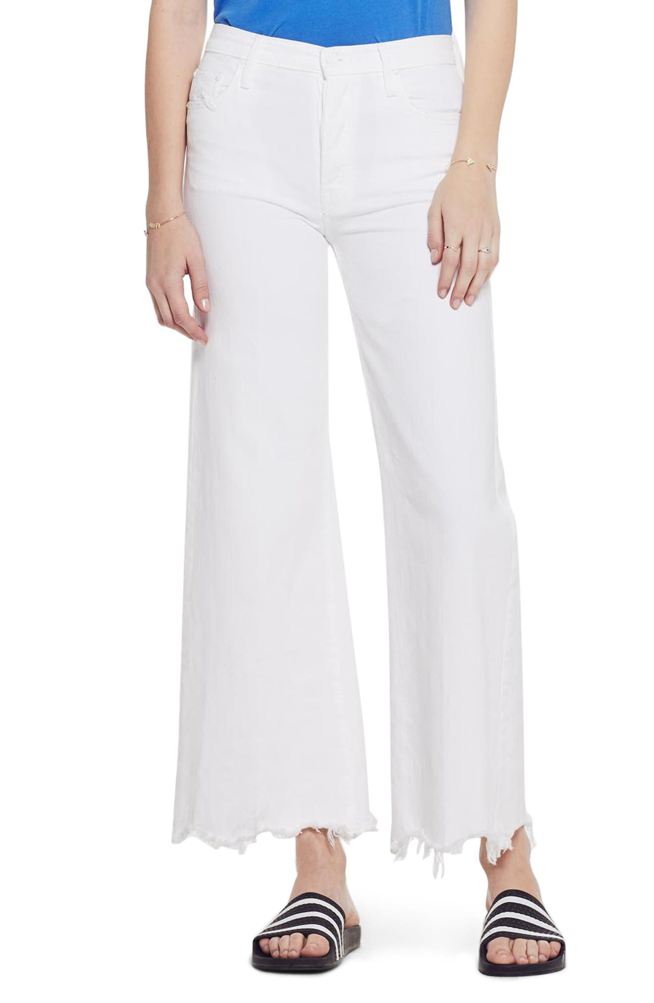 MOTHER The Tomcat Chew Ripped High Waist Flare Jeans, Main, color, ALMOST INNOCENT