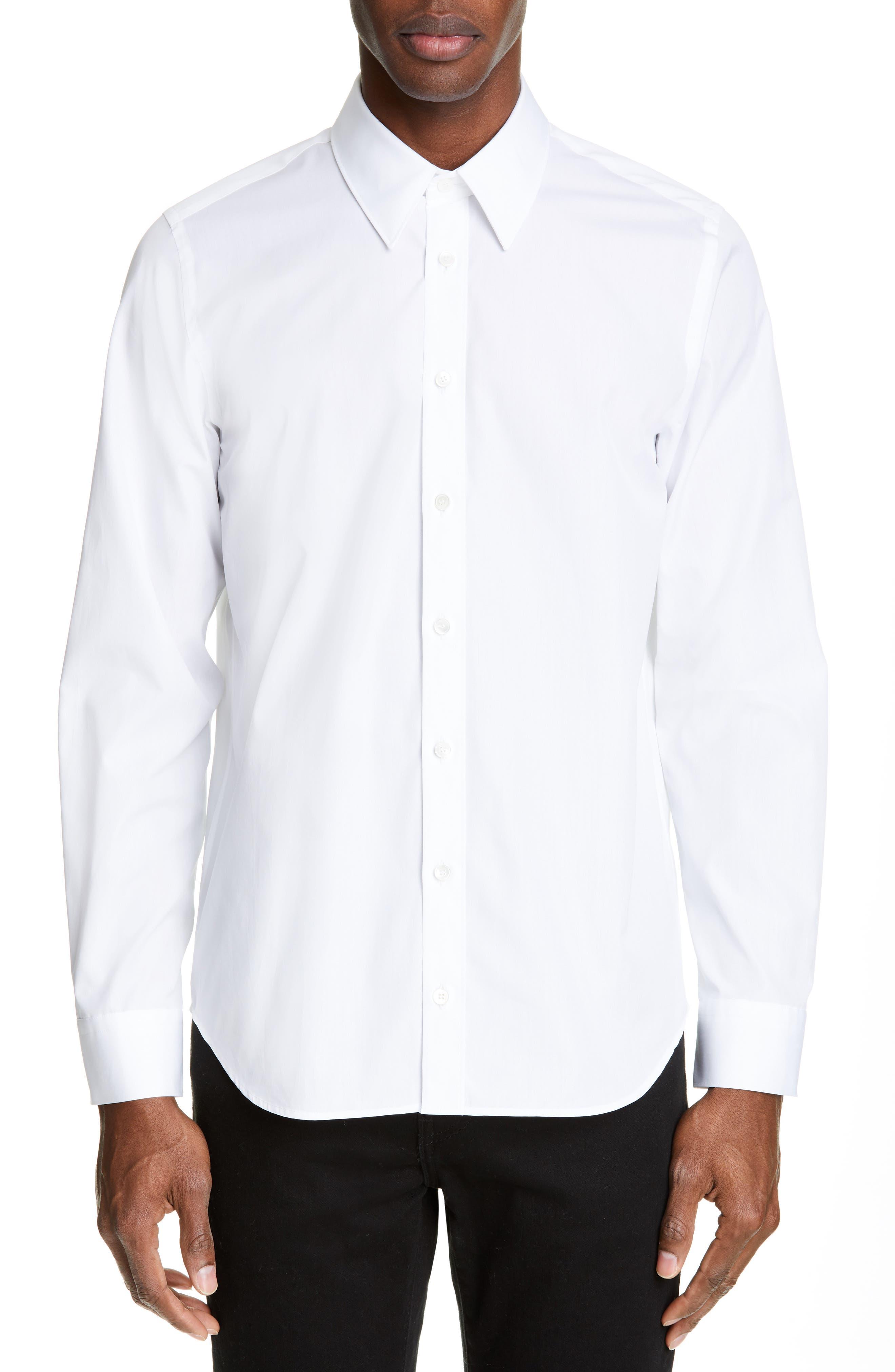 HELMUT LANG, Logo Print Dress Shirt, Main thumbnail 1, color, WHITE/SILVER