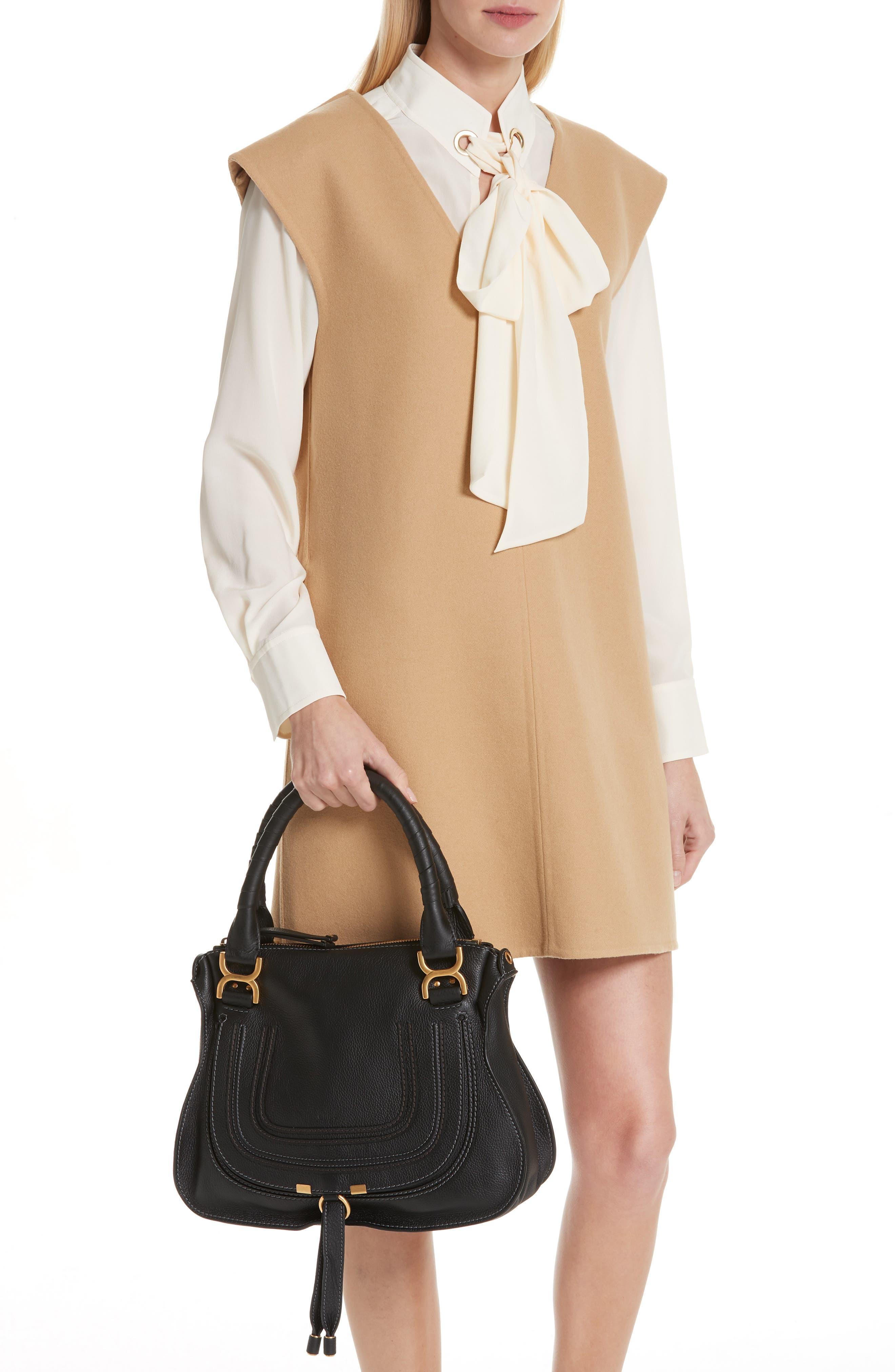 CHLOÉ, 'Medium Marcie' Leather Satchel, Alternate thumbnail 3, color, BLACK GOLD HRDWRE