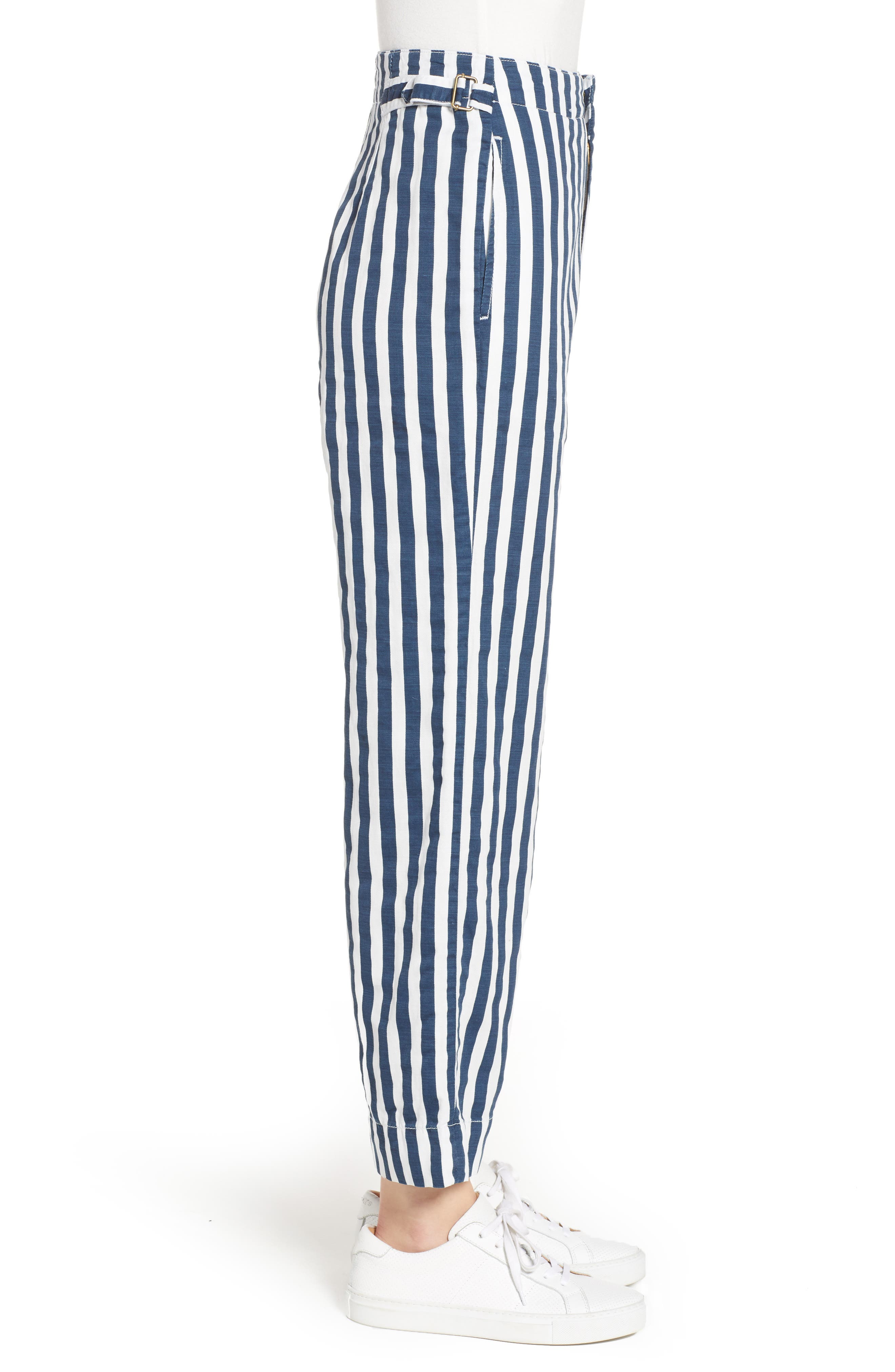 MOTHER, The Cinch Greaser Stripe Pants, Alternate thumbnail 4, color, 110