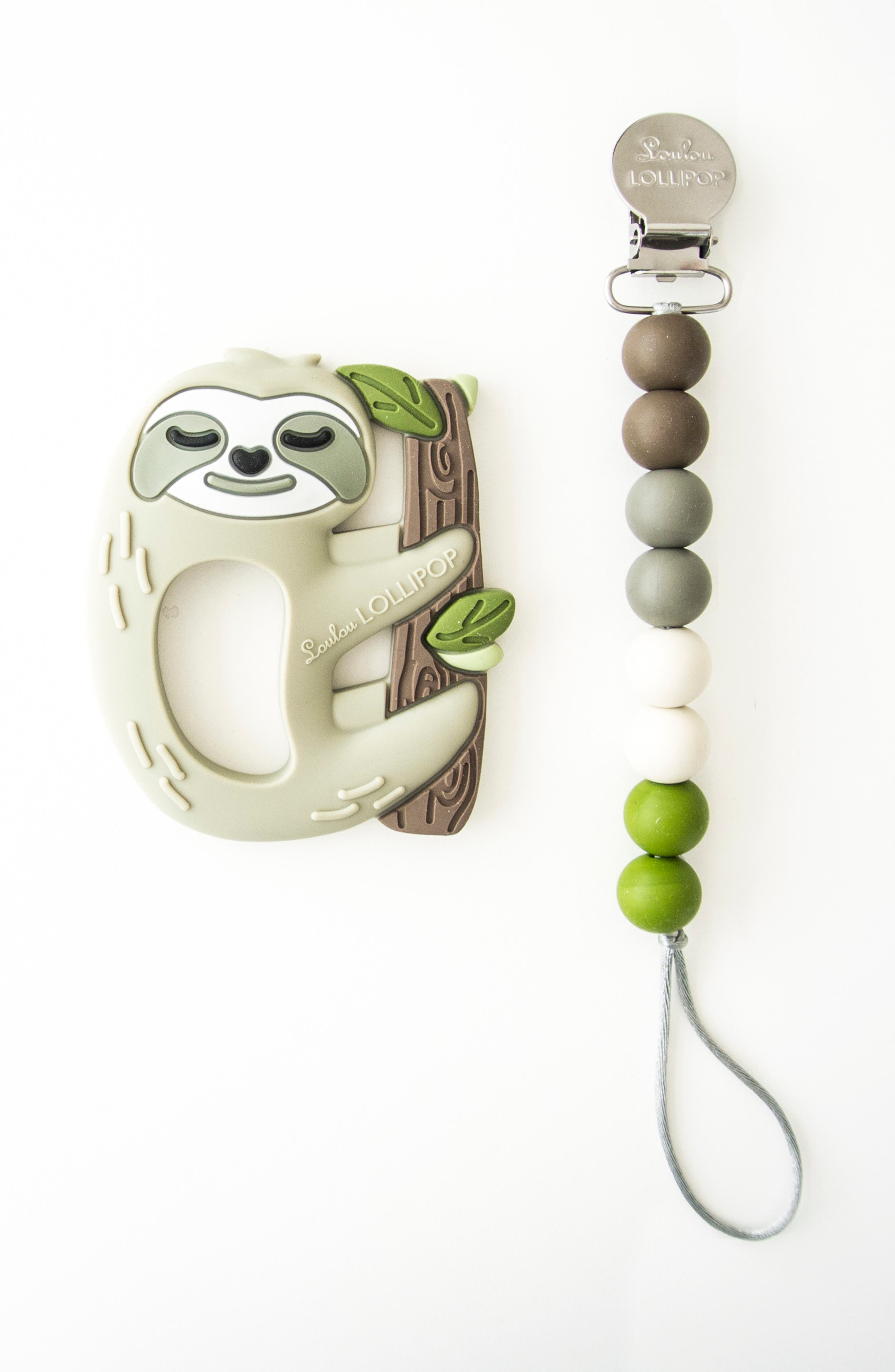 LOULOU LOLLIPOP, Sloth Teething Toy & Holder, Alternate thumbnail 2, color, GREY
