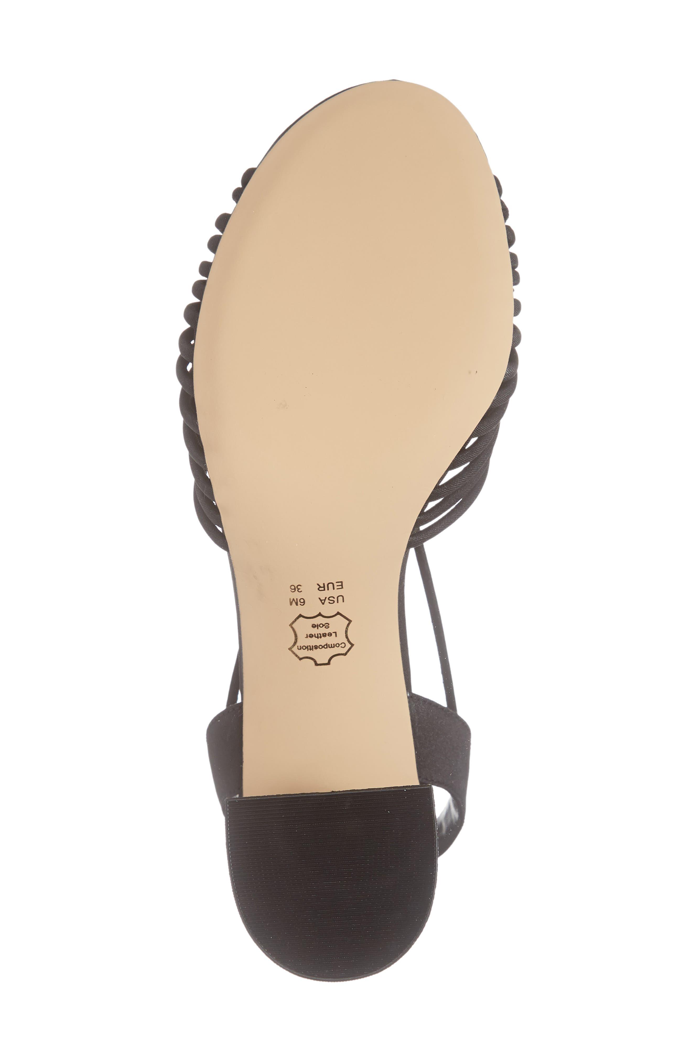 NINA, Nadelyn Strappy Sandal, Alternate thumbnail 6, color, BLACK FABRIC
