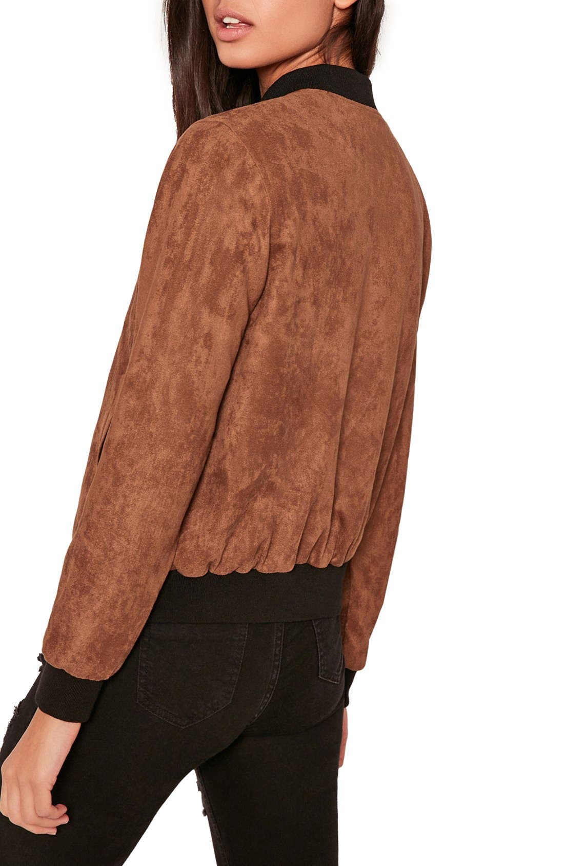 MISSGUIDED, Faux Suede Bomber Jacket, Alternate thumbnail 9, color, 808