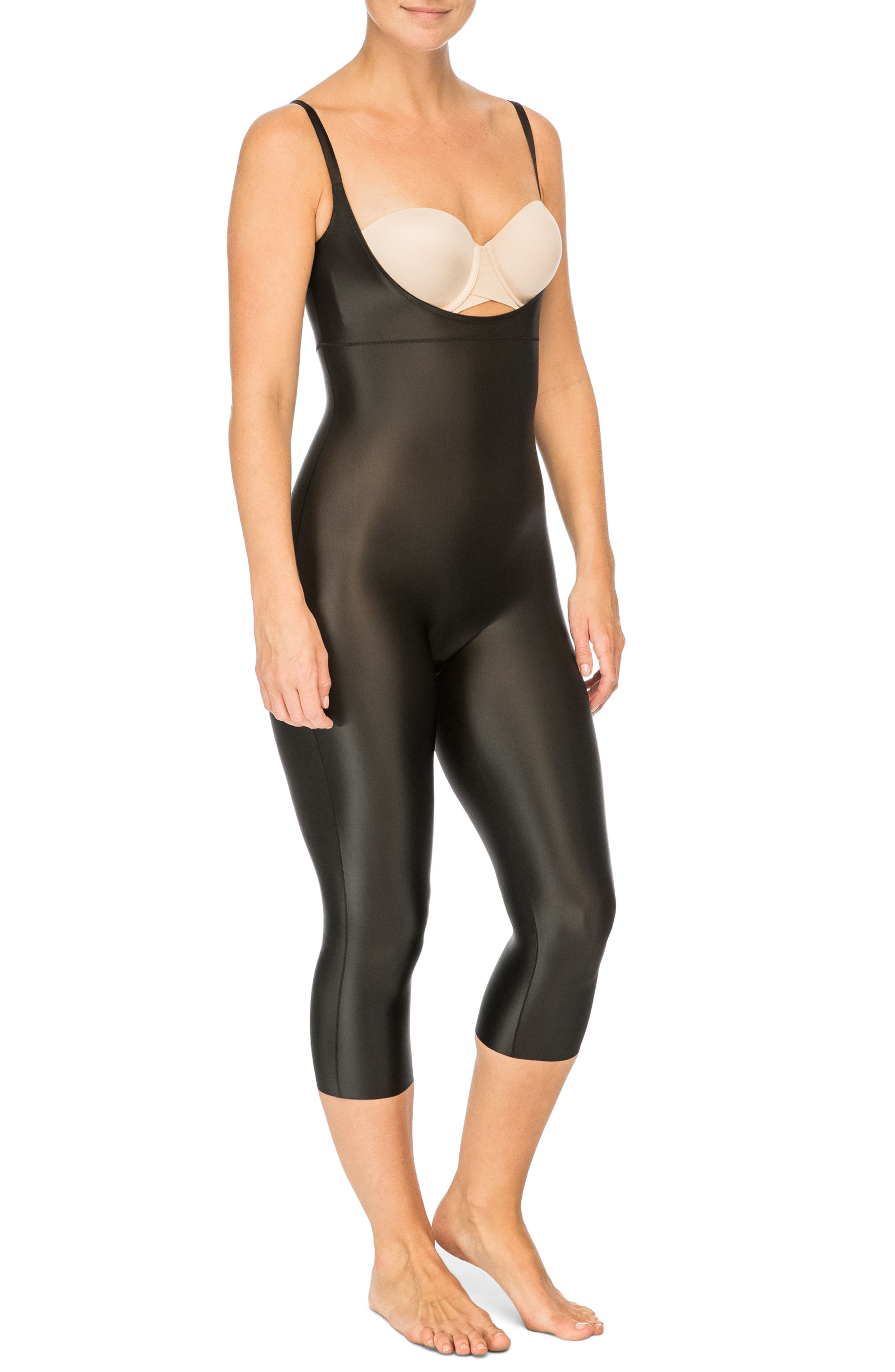 SPANX<SUP>®</SUP>, Suit Your Fancy Open-Bust Shaper Catsuit, Alternate thumbnail 3, color, VERY BLACK