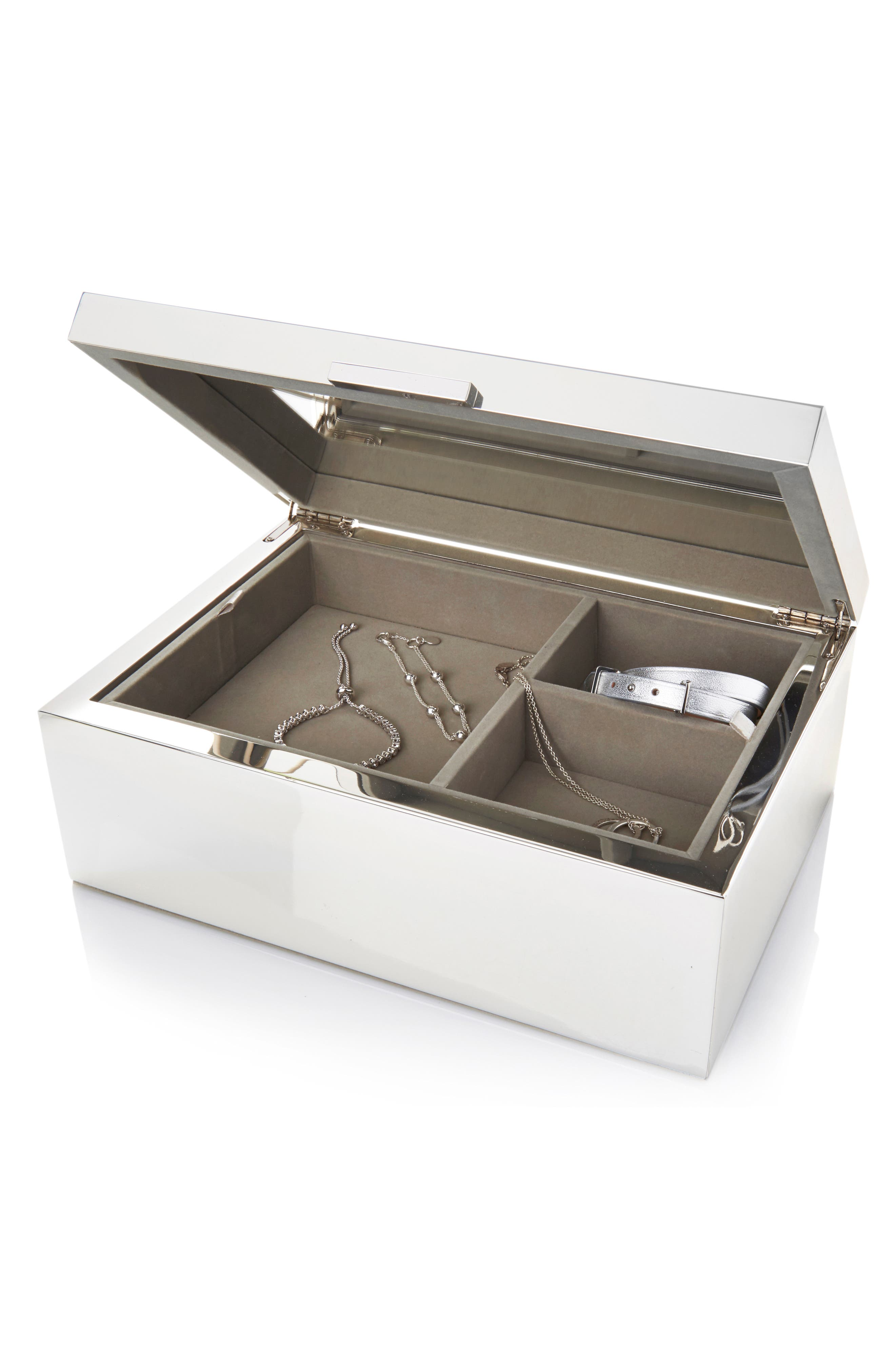 THE WHITE COMPANY, Large Silver Plated Jewelry Box, Alternate thumbnail 2, color, SILVER