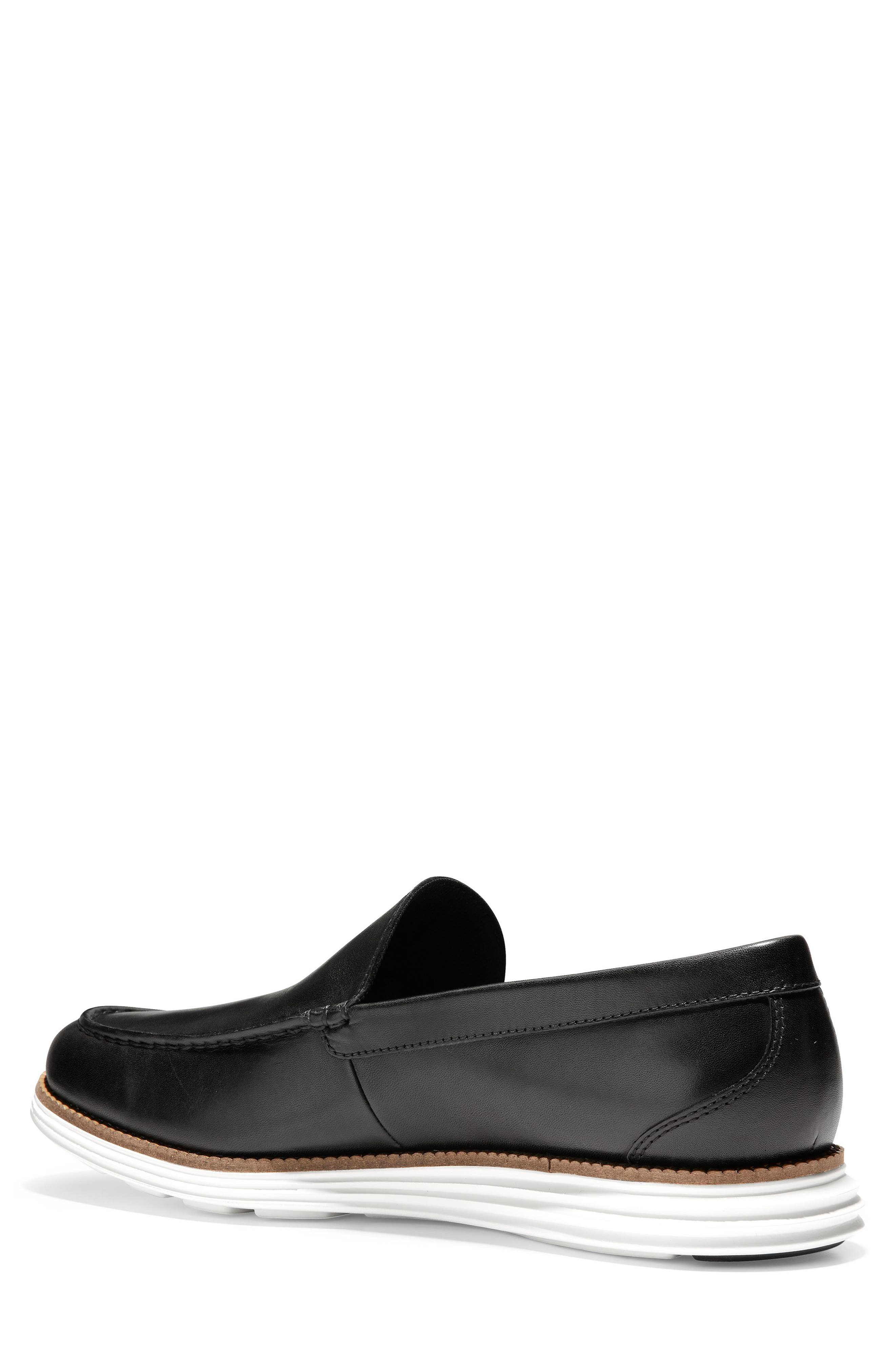 COLE HAAN, Original Grand Loafer, Alternate thumbnail 2, color, BLACK/ OPTIC WHITE LEATHER