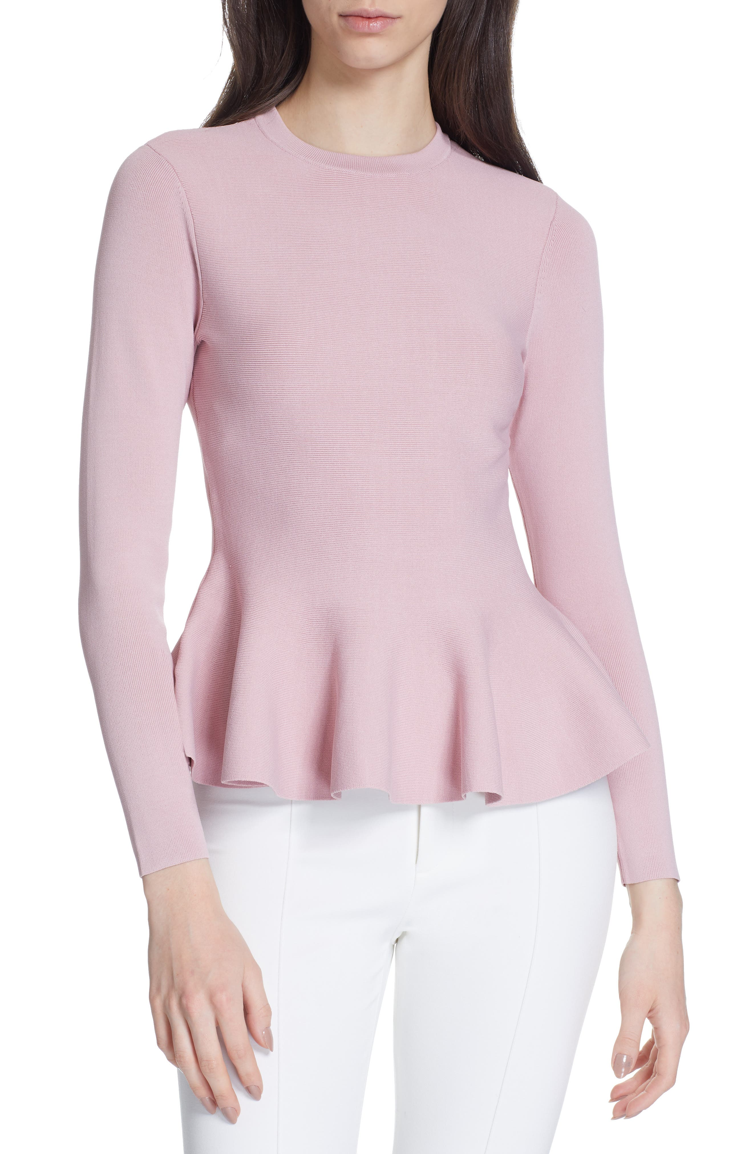 TED BAKER LONDON, Hinlia Peplum Sweater, Main thumbnail 1, color, DUSKY PINK