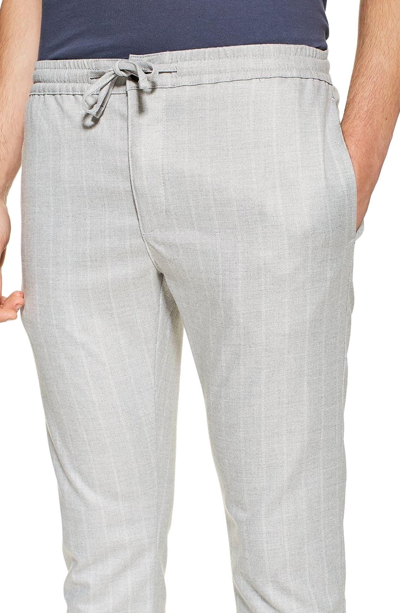 TOPMAN, Skinny Fit Stripe Crop Trousers, Alternate thumbnail 4, color, GREY