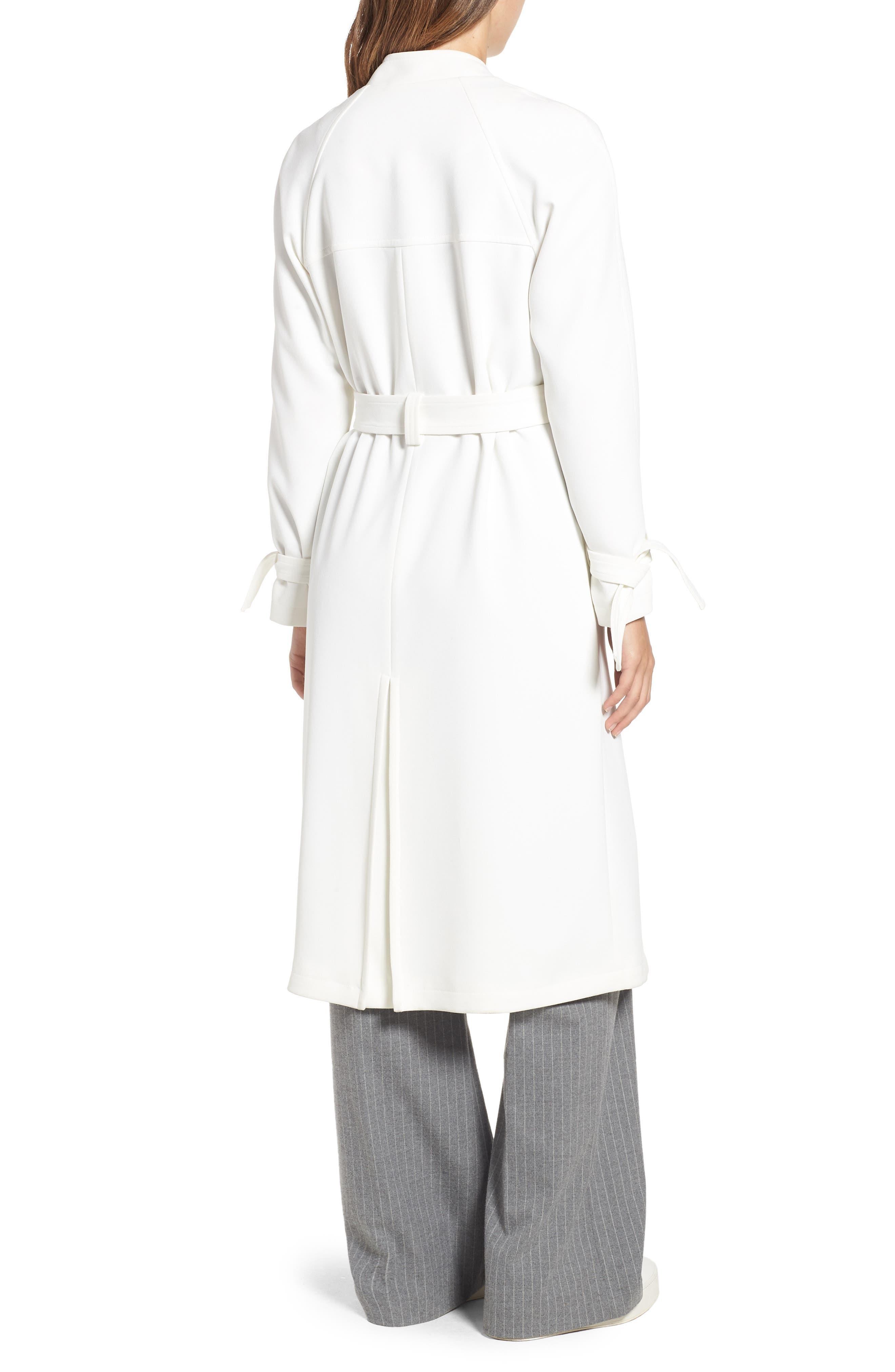 RACHEL RACHEL ROY, Luxe Crepe Trench Coat, Alternate thumbnail 2, color, WHITE