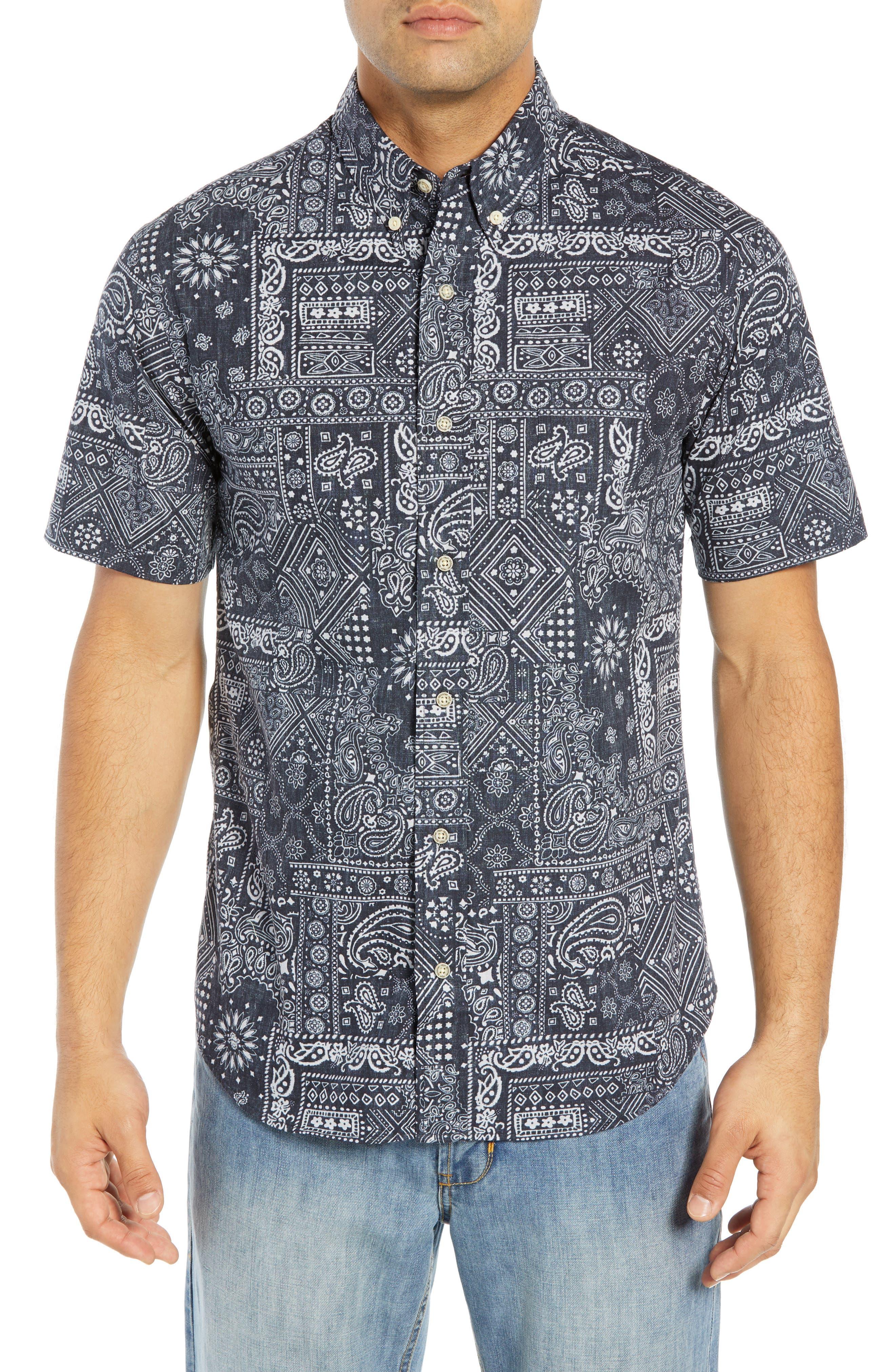 REYN SPOONER, Aloha Bandana Regular Fit Sport Shirt, Main thumbnail 1, color, 001