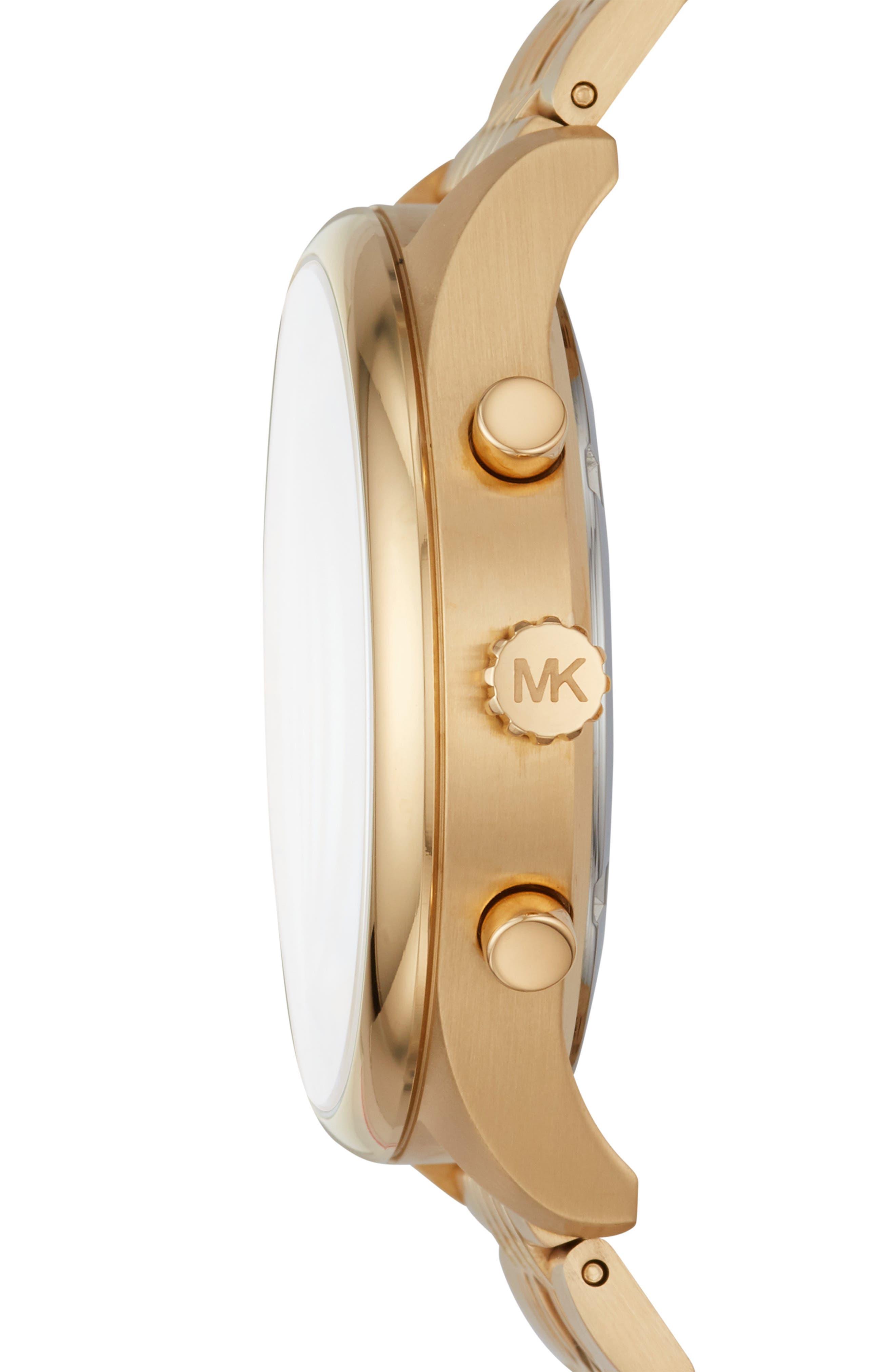 MICHAEL KORS, Merrick Bracelet Watch, 42mm, Alternate thumbnail 2, color, GOLD