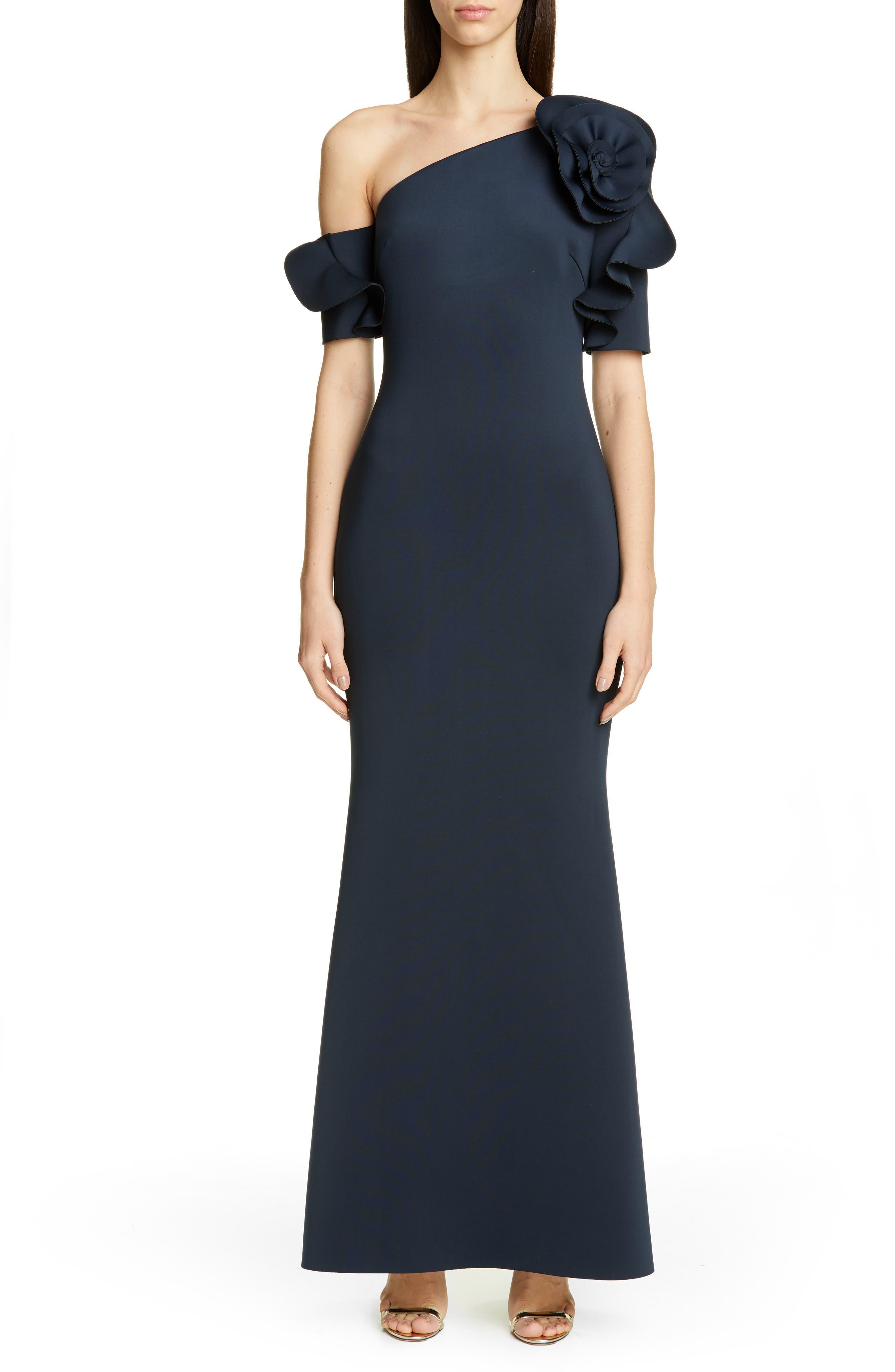Badgley Mischka One-Shoulder Trumpet Evening Dress, Blue