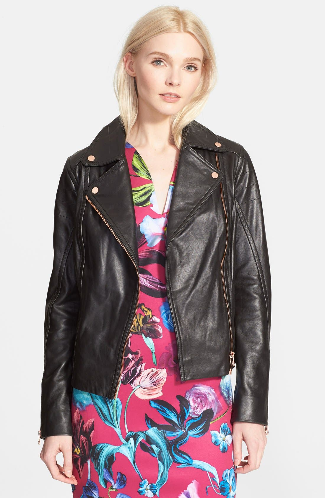 TED BAKER LONDON, 'Riza' Leather Moto Jacket, Alternate thumbnail 3, color, 001