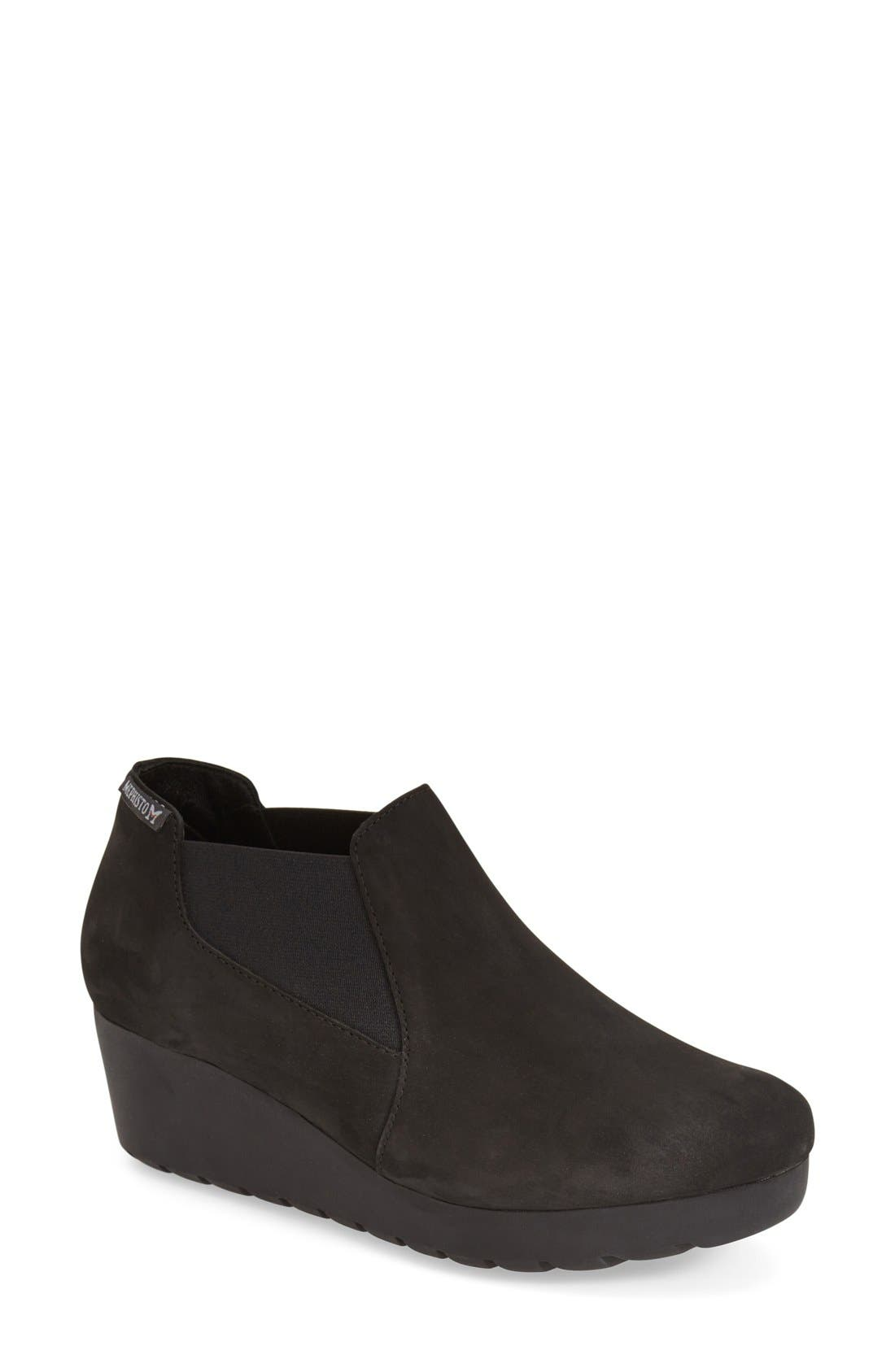 MEPHISTO 'Tosca' Slip-On Wedge, Main, color, BLACK NUBUCK LEATHER