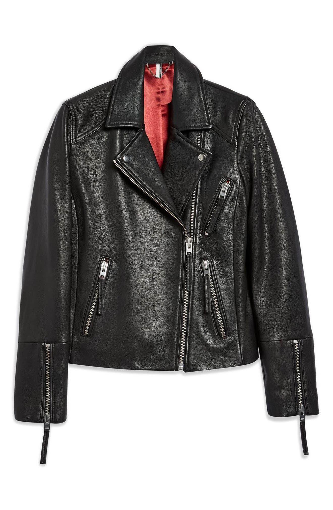 TOPSHOP, Dolly Leather Biker Jacket, Alternate thumbnail 5, color, BLACK