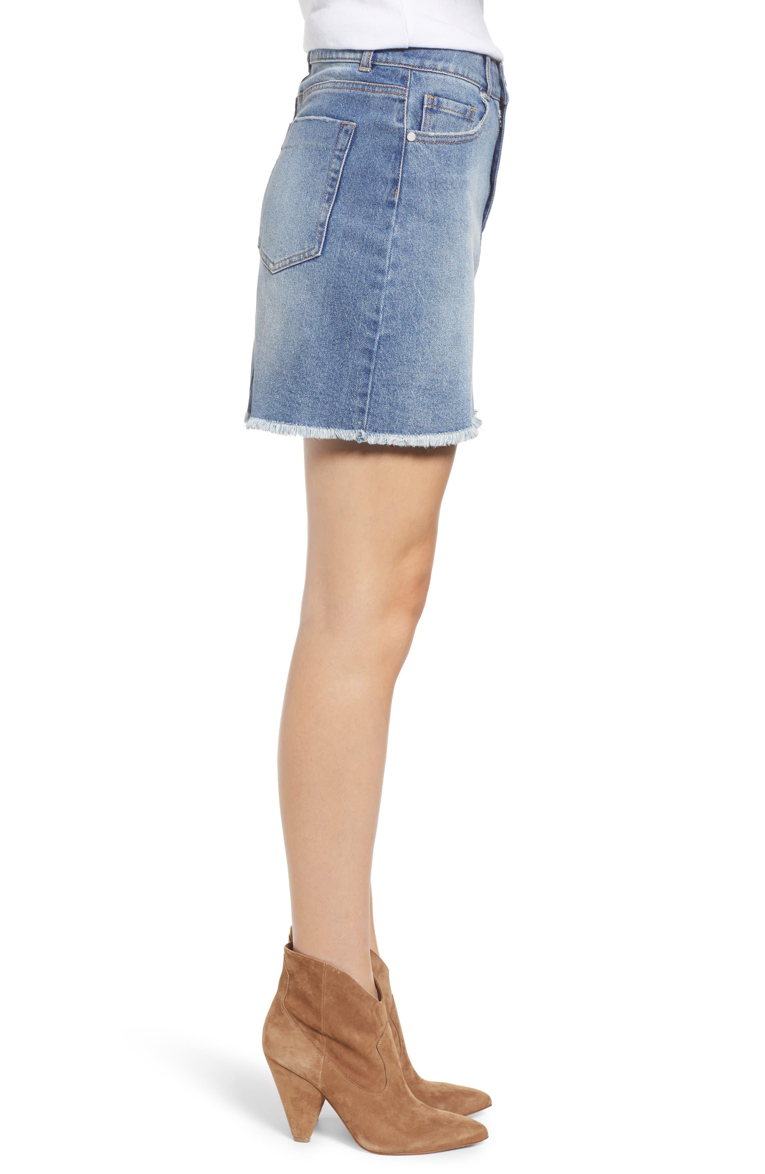 PROSPERITY DENIM, Raw Hem Denim Miniskirt, Alternate thumbnail 4, color, LIGHT WASH