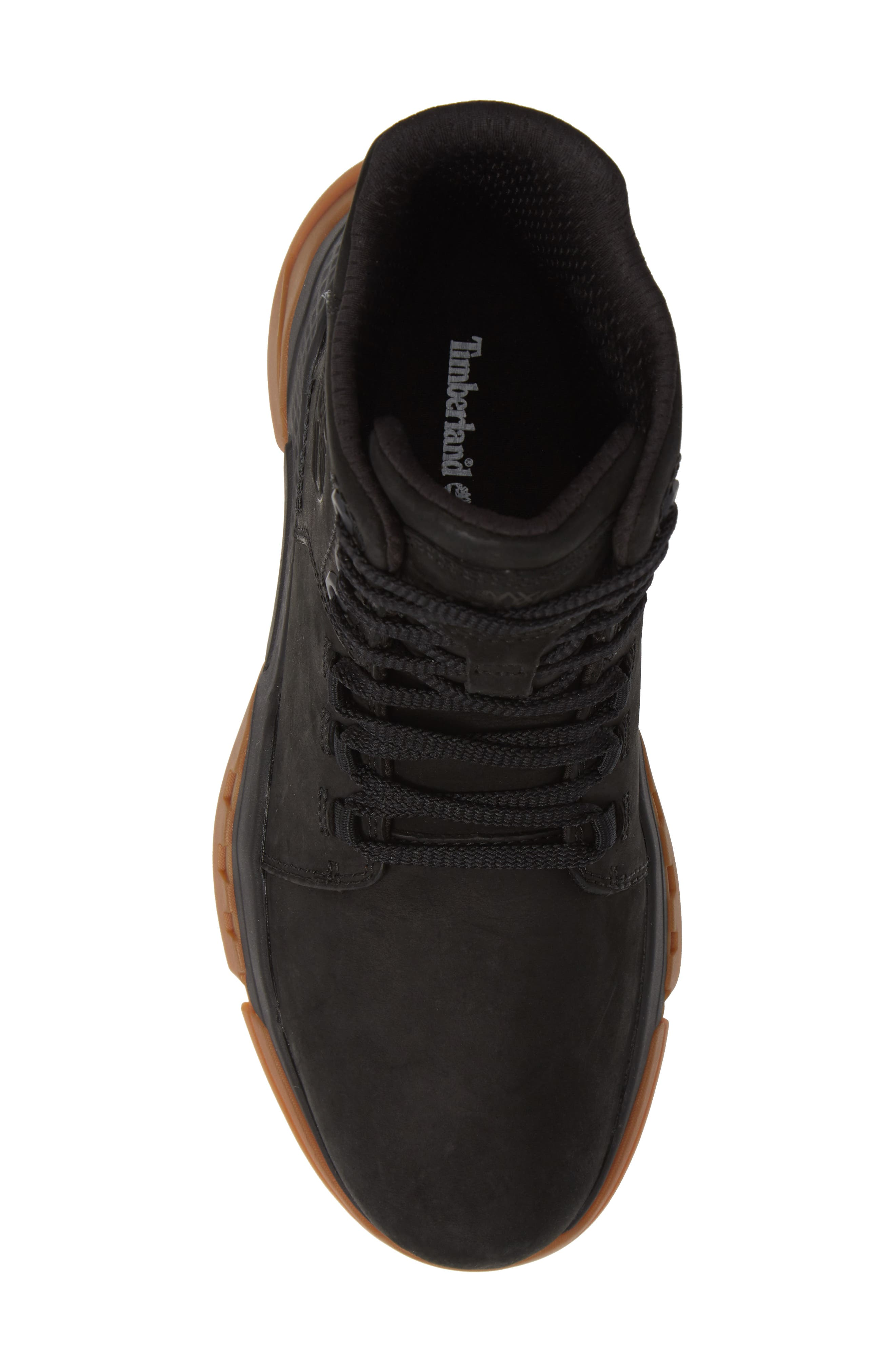 TIMBERLAND, City Force Reveal Plain Toe Boot, Alternate thumbnail 5, color, BLACK LEATHER/ NEOPRENE