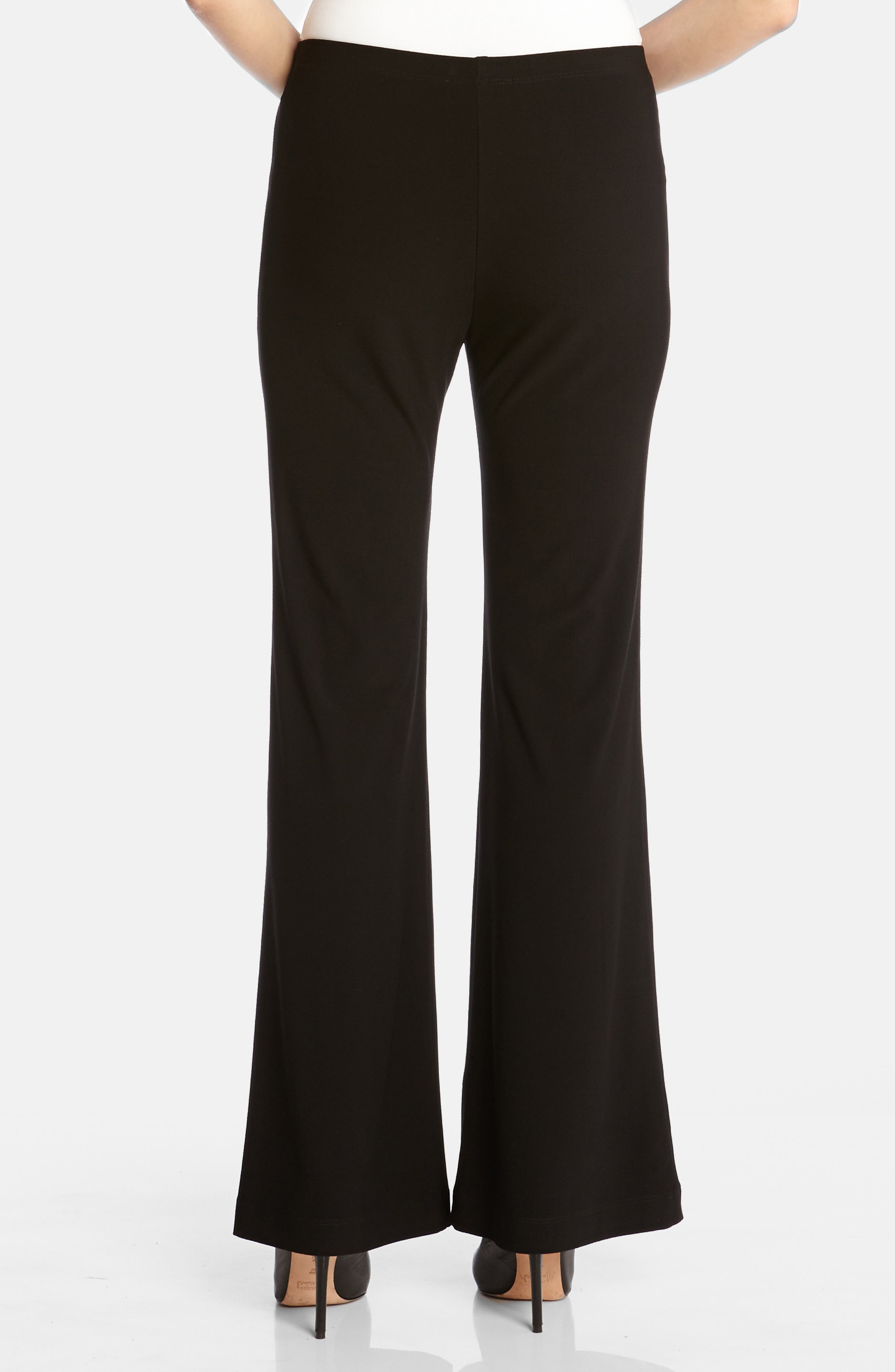 KAREN KANE, Wide Leg Crepe Pants, Alternate thumbnail 2, color, BLACK