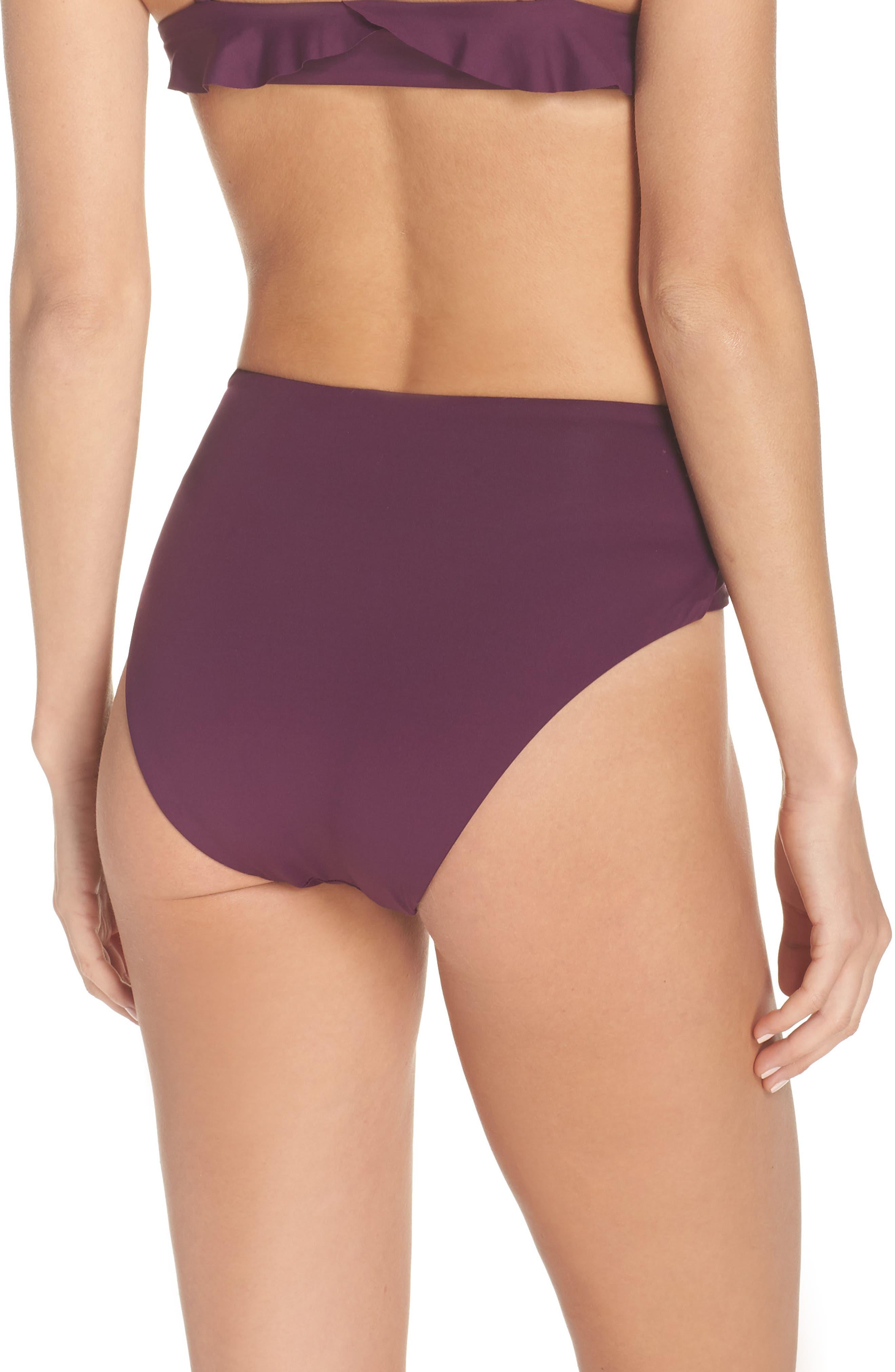 BECCA, Color Code Crossover High Waist Bikini Bottoms, Alternate thumbnail 2, color, MERLOT