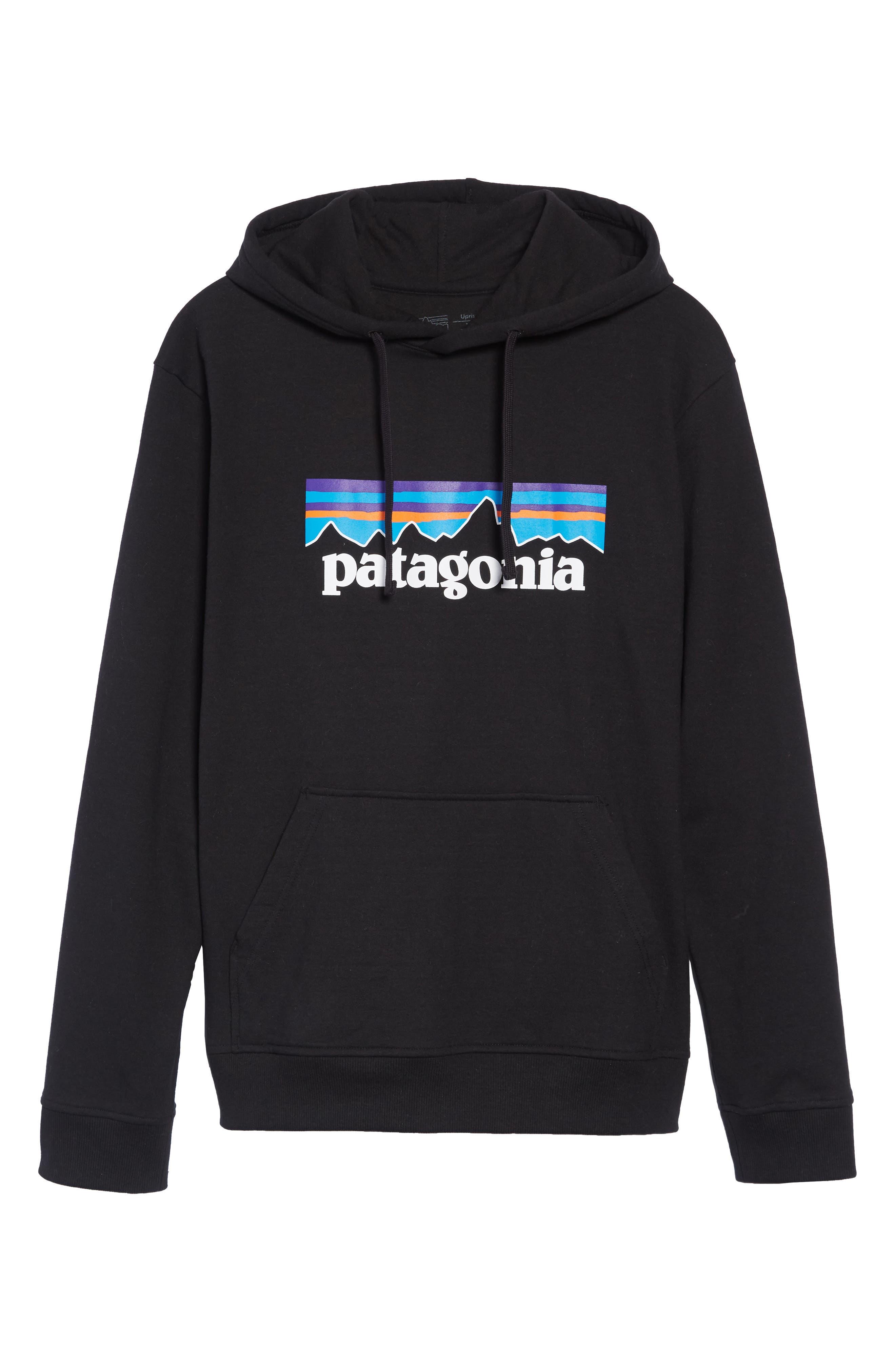 PATAGONIA, P6 Logo Uprisal Hooded Sweatshirt, Alternate thumbnail 6, color, BLACK